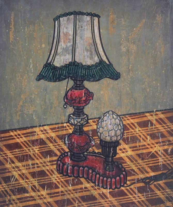 何劍He Jian 檯燈 Lamp 72×60cm 中國畫顏料、墨、皮宣纸 Chinese paint, ink, skin on rice paper 2011