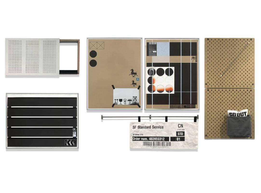 黃斌 Huang Bin Ambiguity M-15 112x244cm 絲網印刷、IKEA金屬件、牆面置物板、杜邦紙、鋁合金畫框、Arches收藏級板畫紙300g、無酸牛皮紙300g_2018
