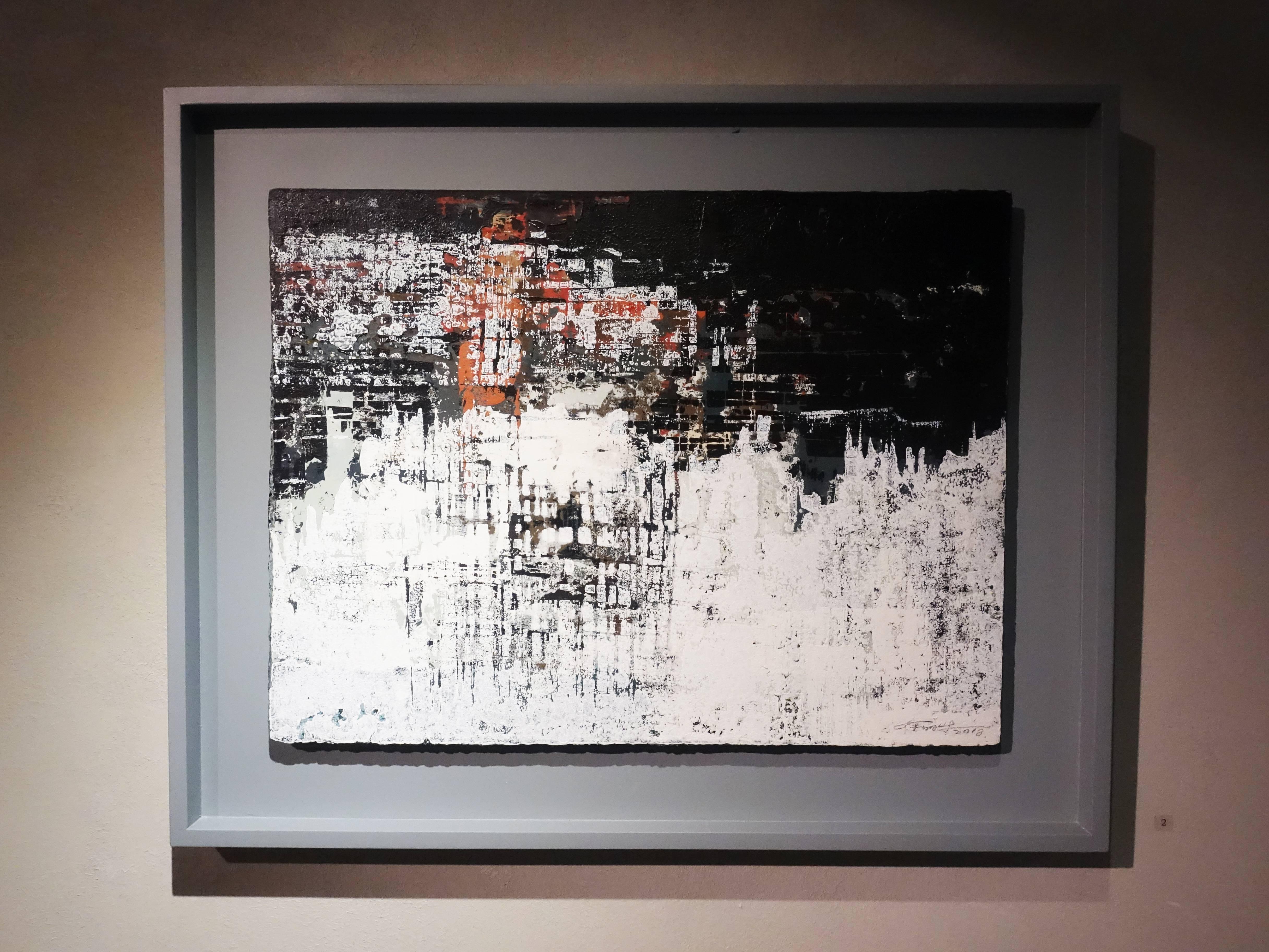 徐明豐,《城市景象之二》,39 x 51 cm,1/1,複合媒材,2018。