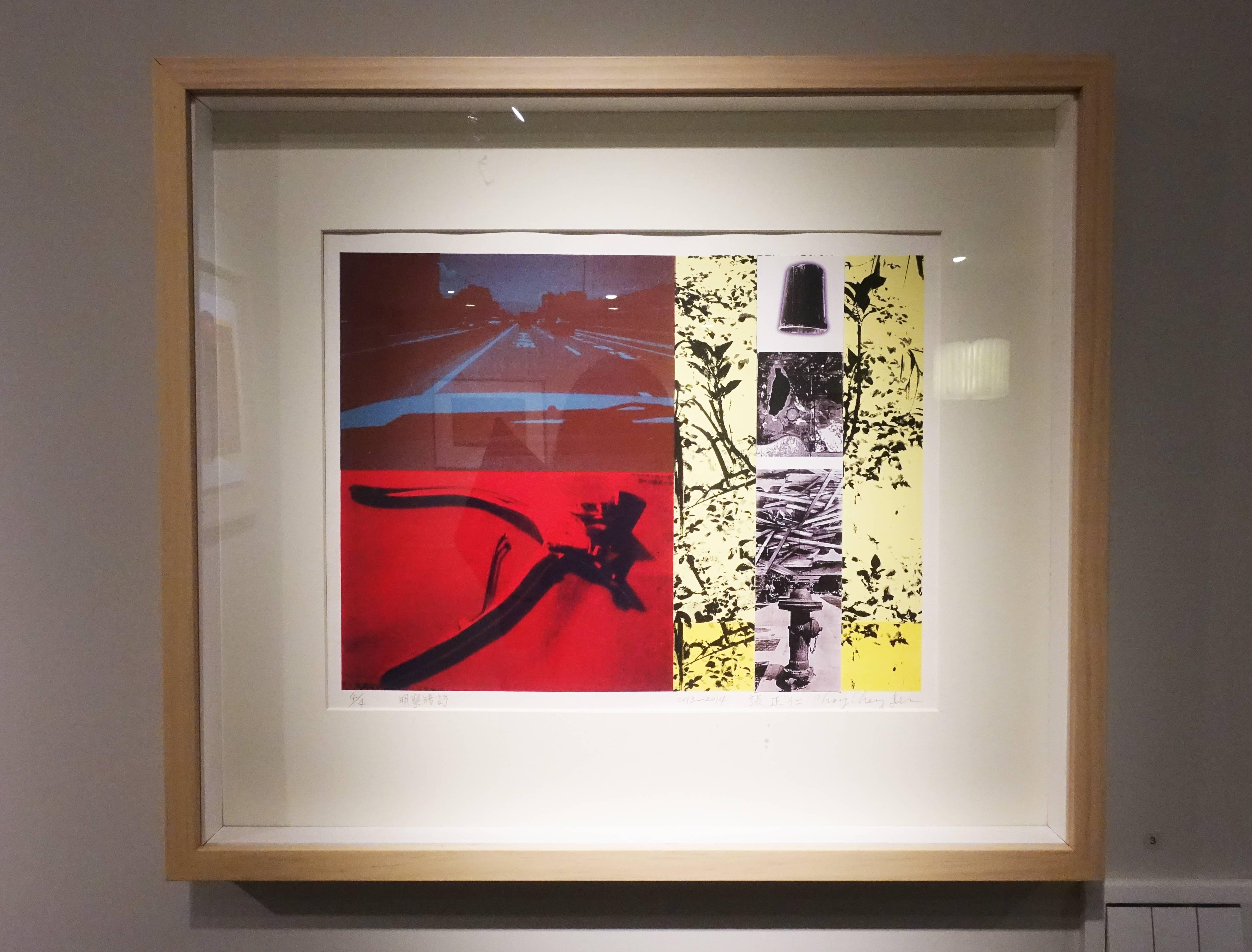 張正仁,《明察暗訪》,29 x 39 cm,4/4,絹印、拼貼,2013-2014。