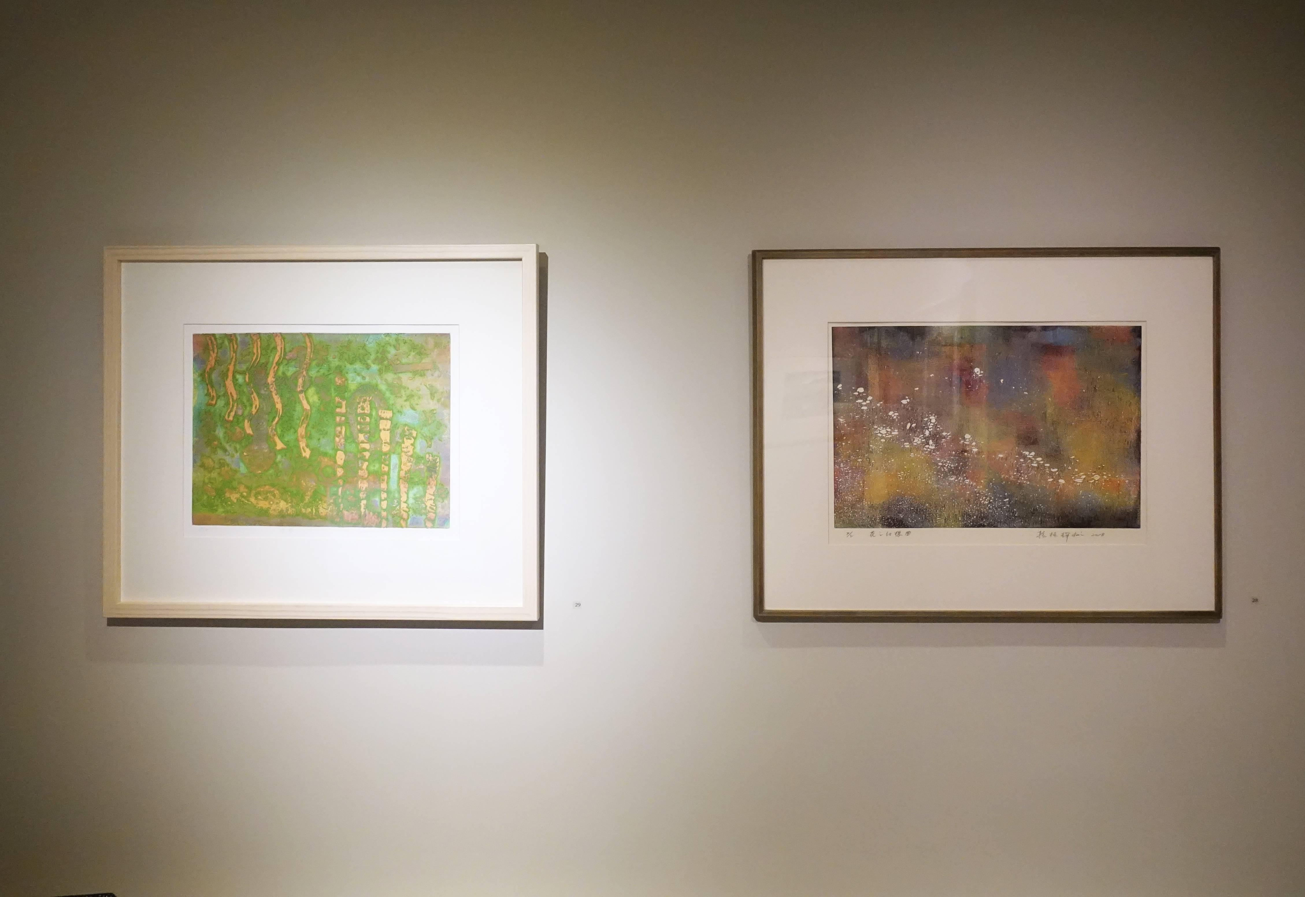 賴振輝,《花之幻想曲》,30 x 45 cm,2/2,併用版,2018,(右)蔡義雄,《濃密》,29 x 39 cm,AP,一版多色,2015。(左)