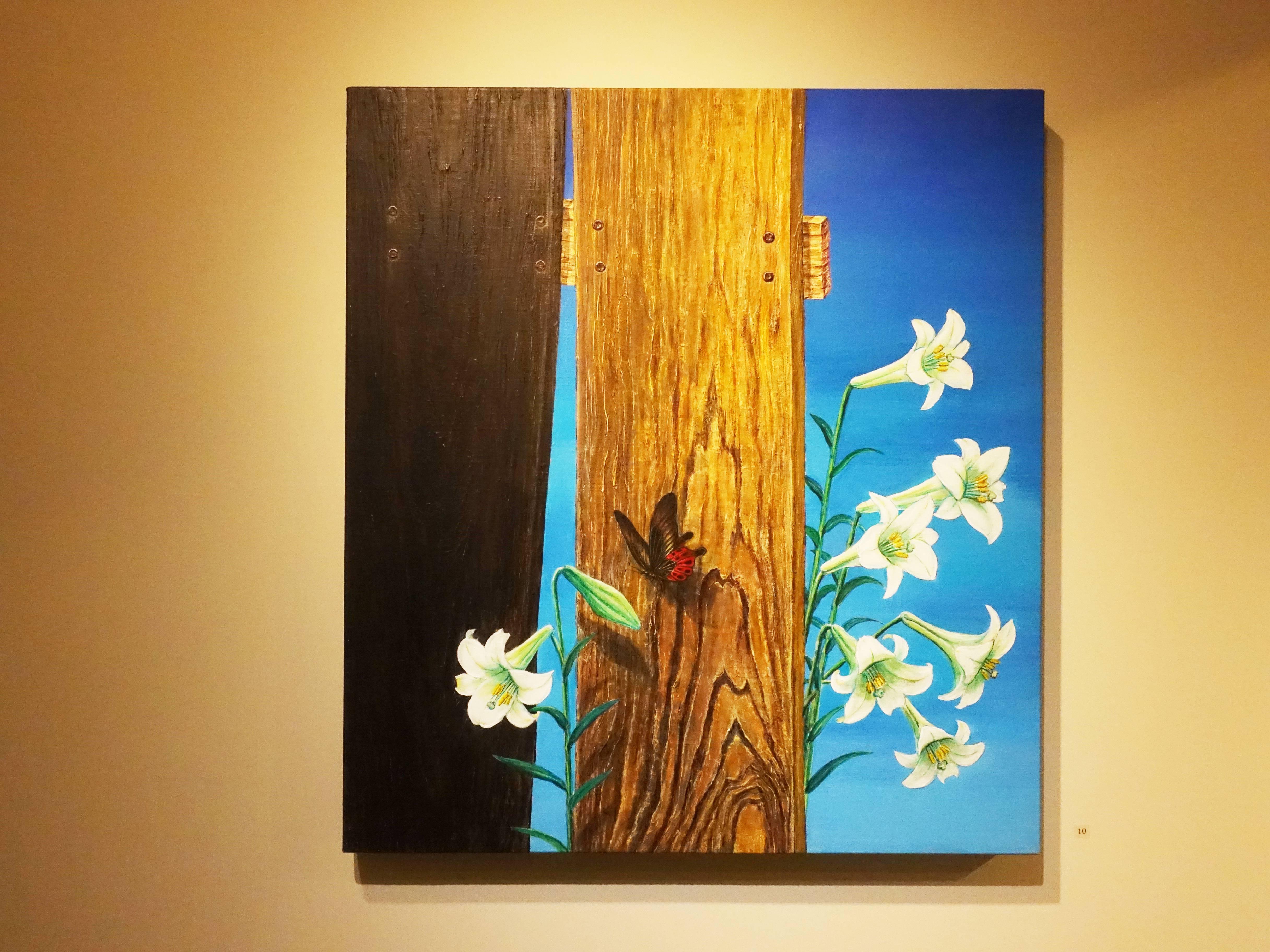 林雪卿,《倚》,72 x 66 cm,1/1,綜合媒材、畫布,2006。