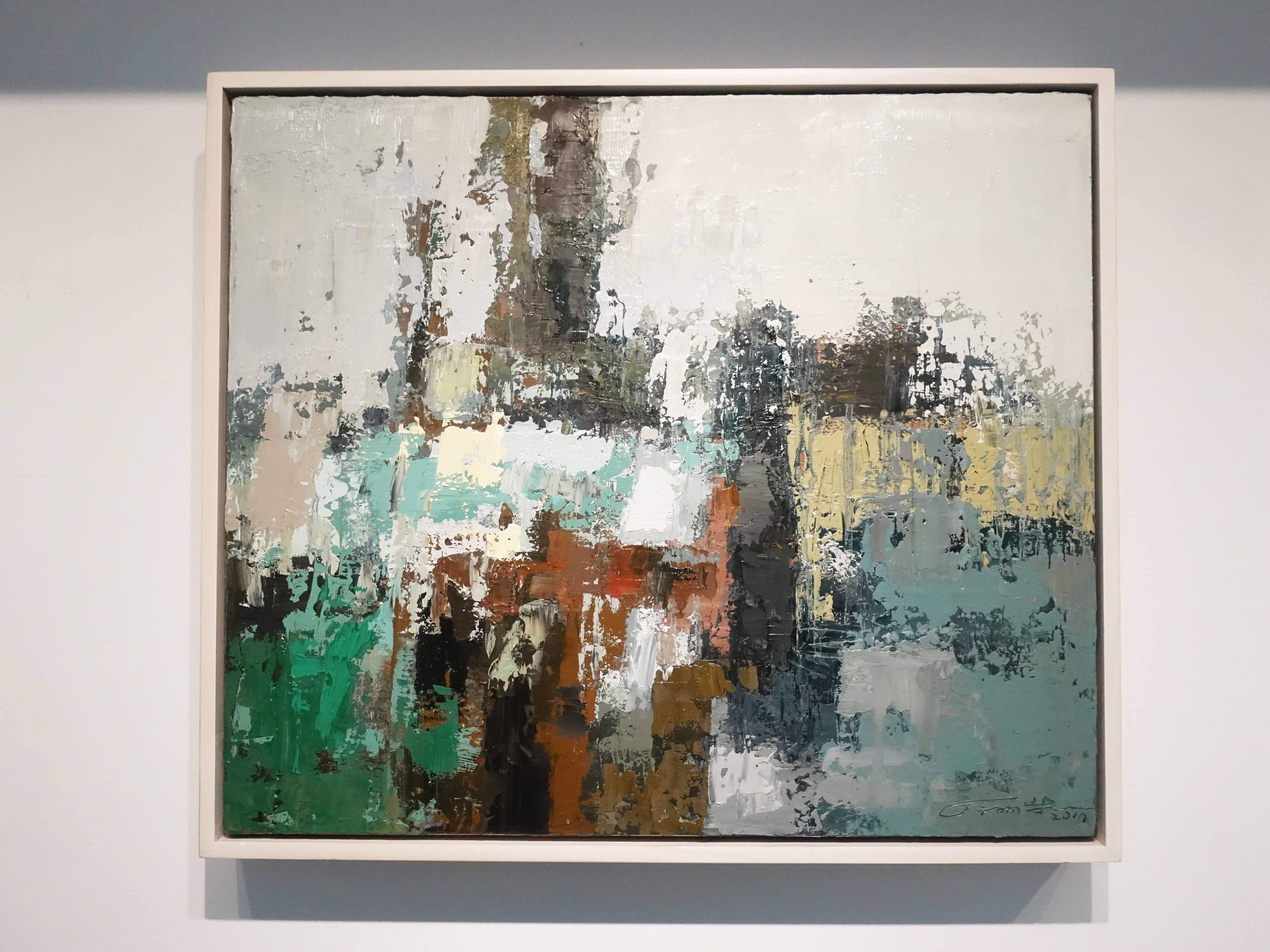 徐明豐,《記憶‧景像之七》,53 x 45.5 cm,複合媒材油畫,2017。