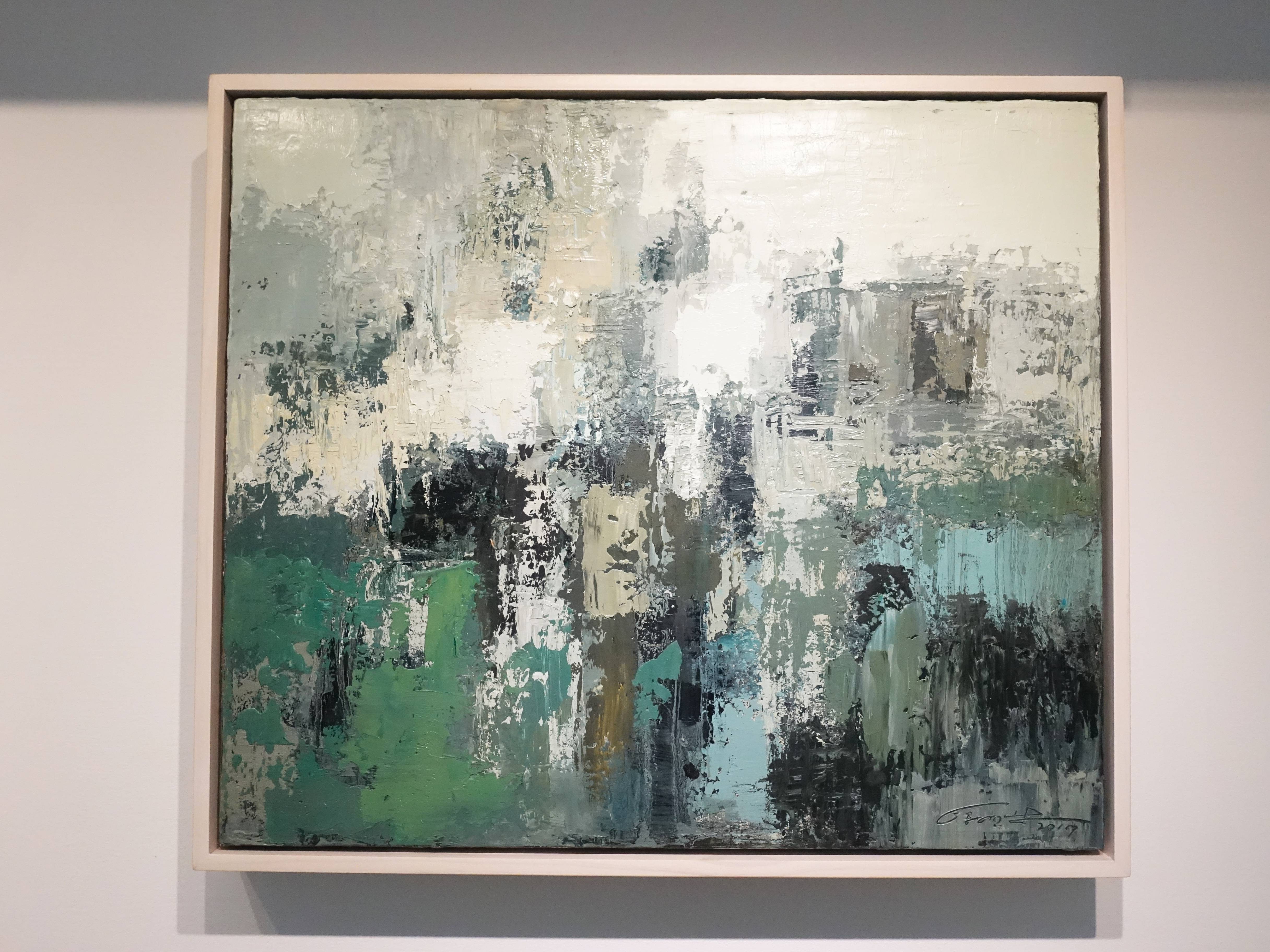 徐明豐,《記憶‧景像之六》,58 x 66 cm,複合媒材油畫,2017。