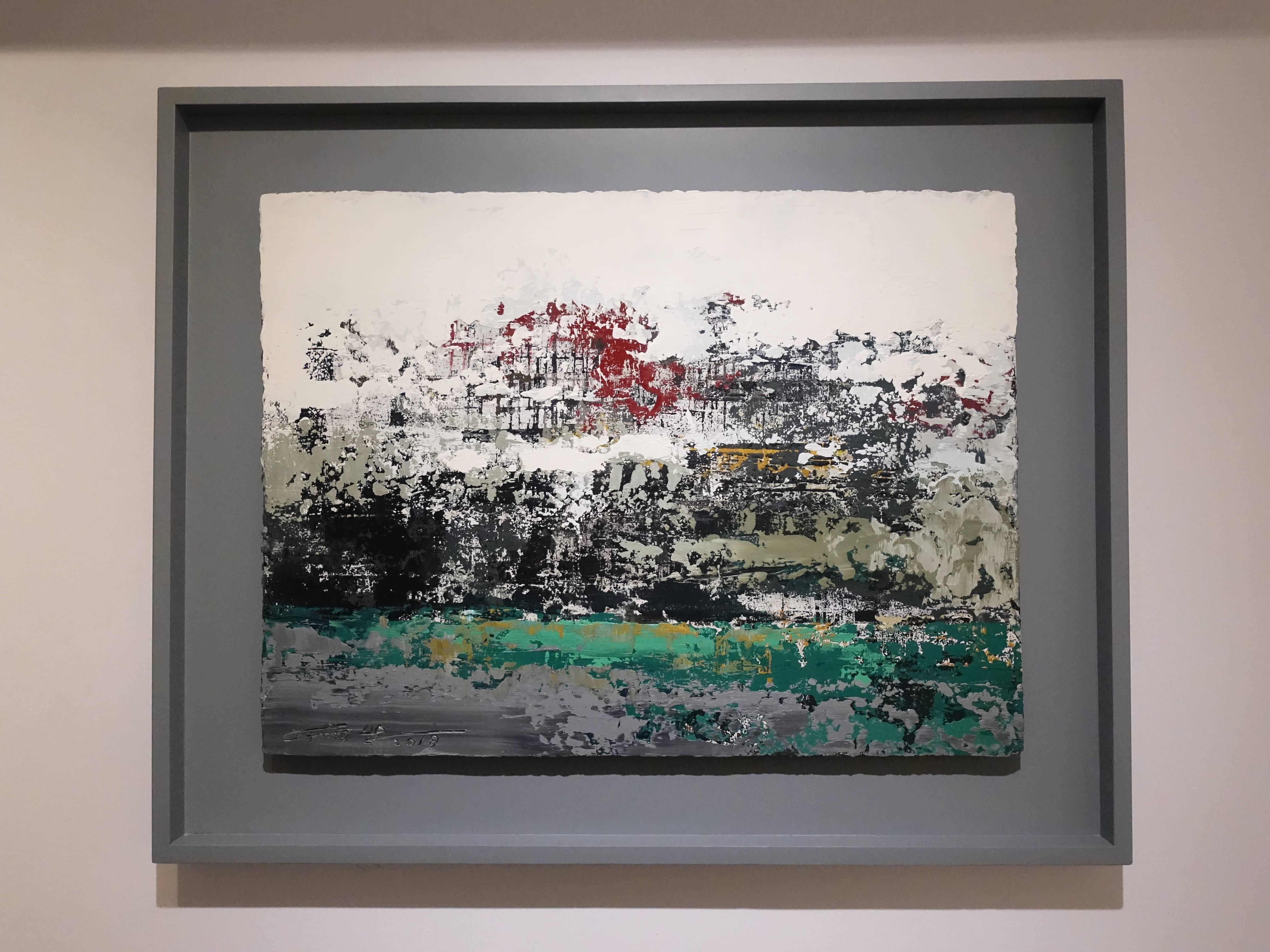 徐明豐,《移動的風景之三》,39 x 51 cm,複合媒材,2018。