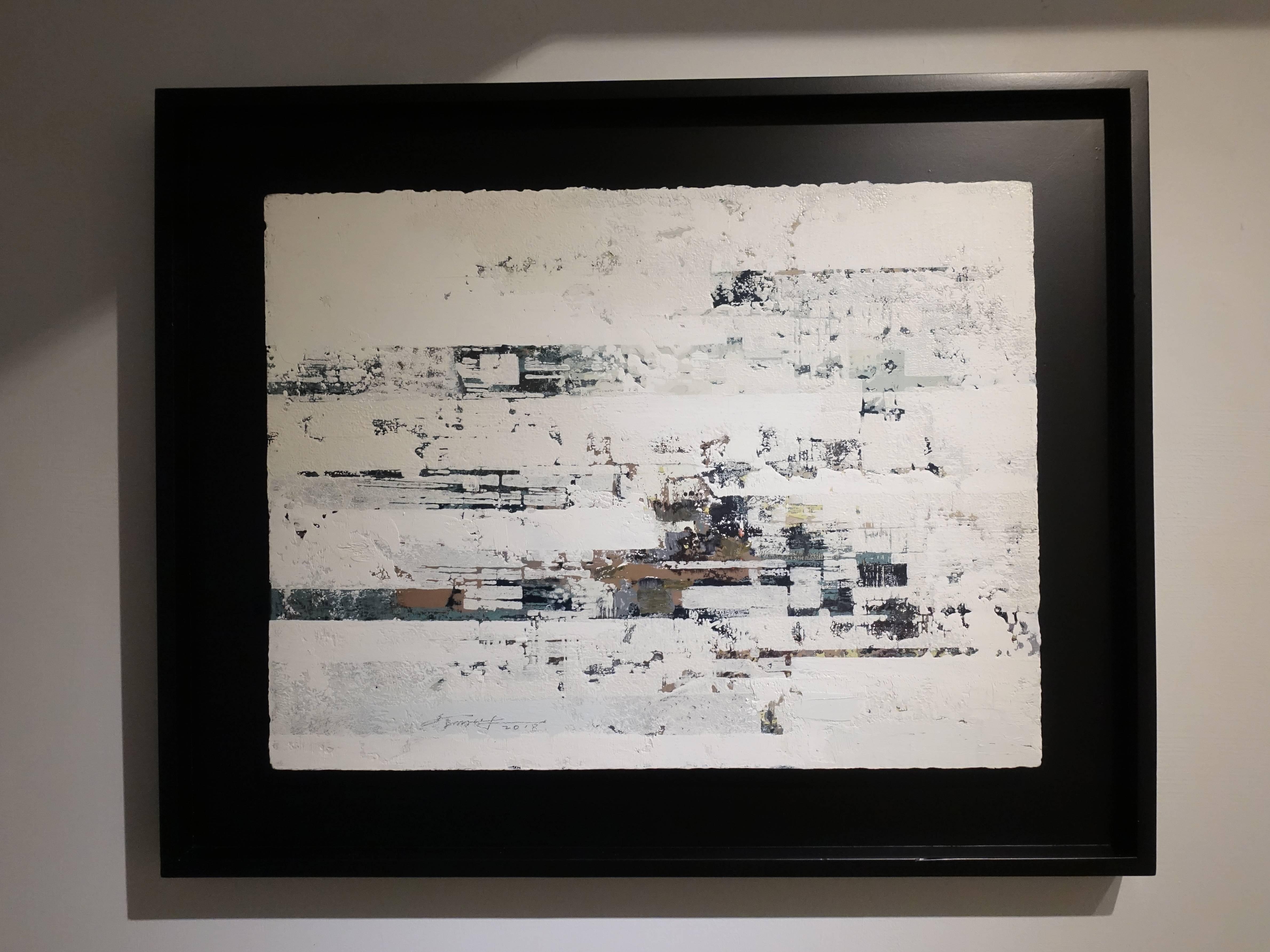 徐明豐,《移動的城市》,39 x 51 cm,複合媒材,2018。