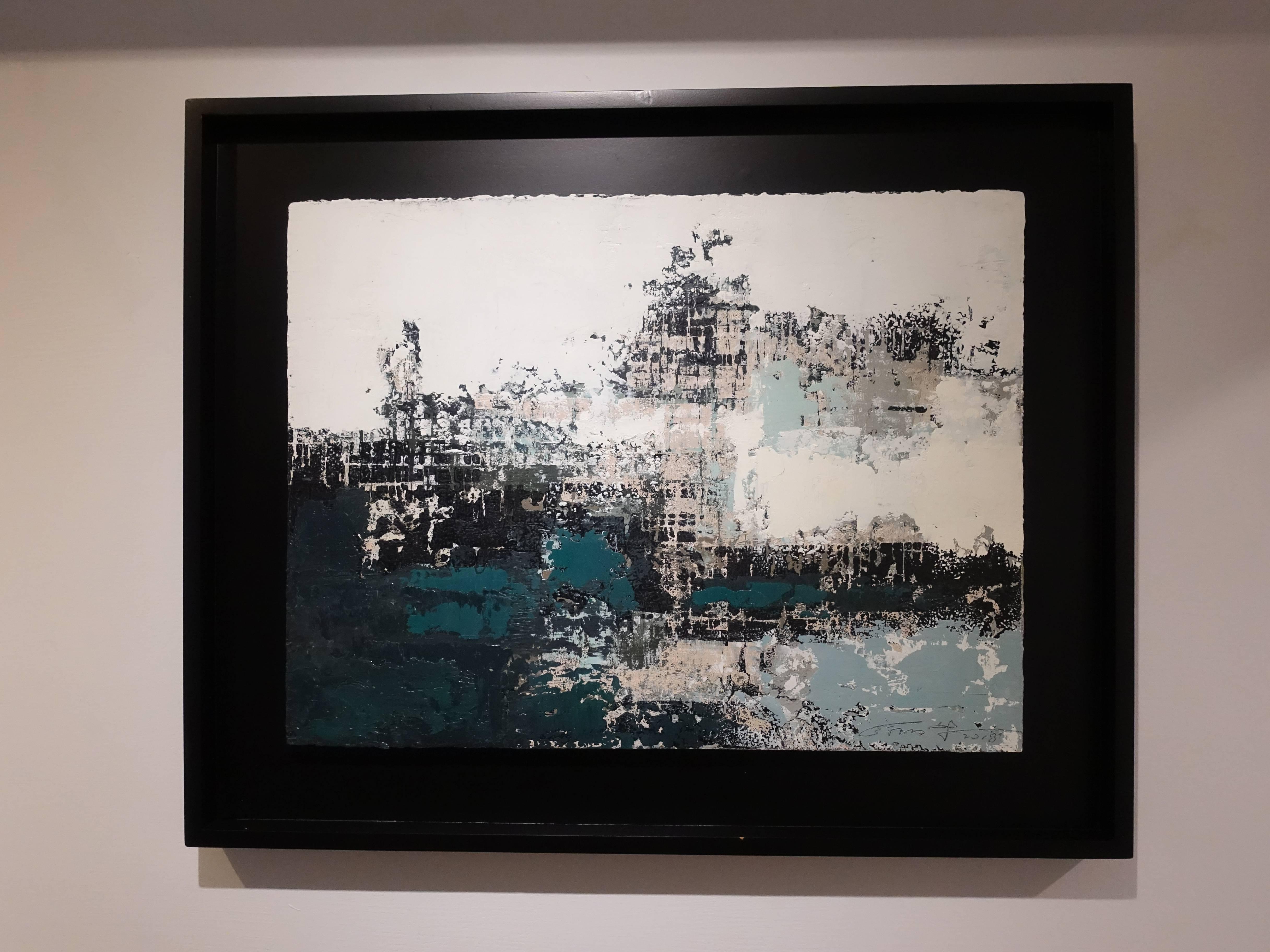 徐明豐,《移動的風景》,39 x 51 cm,複合媒材紙本,2018。