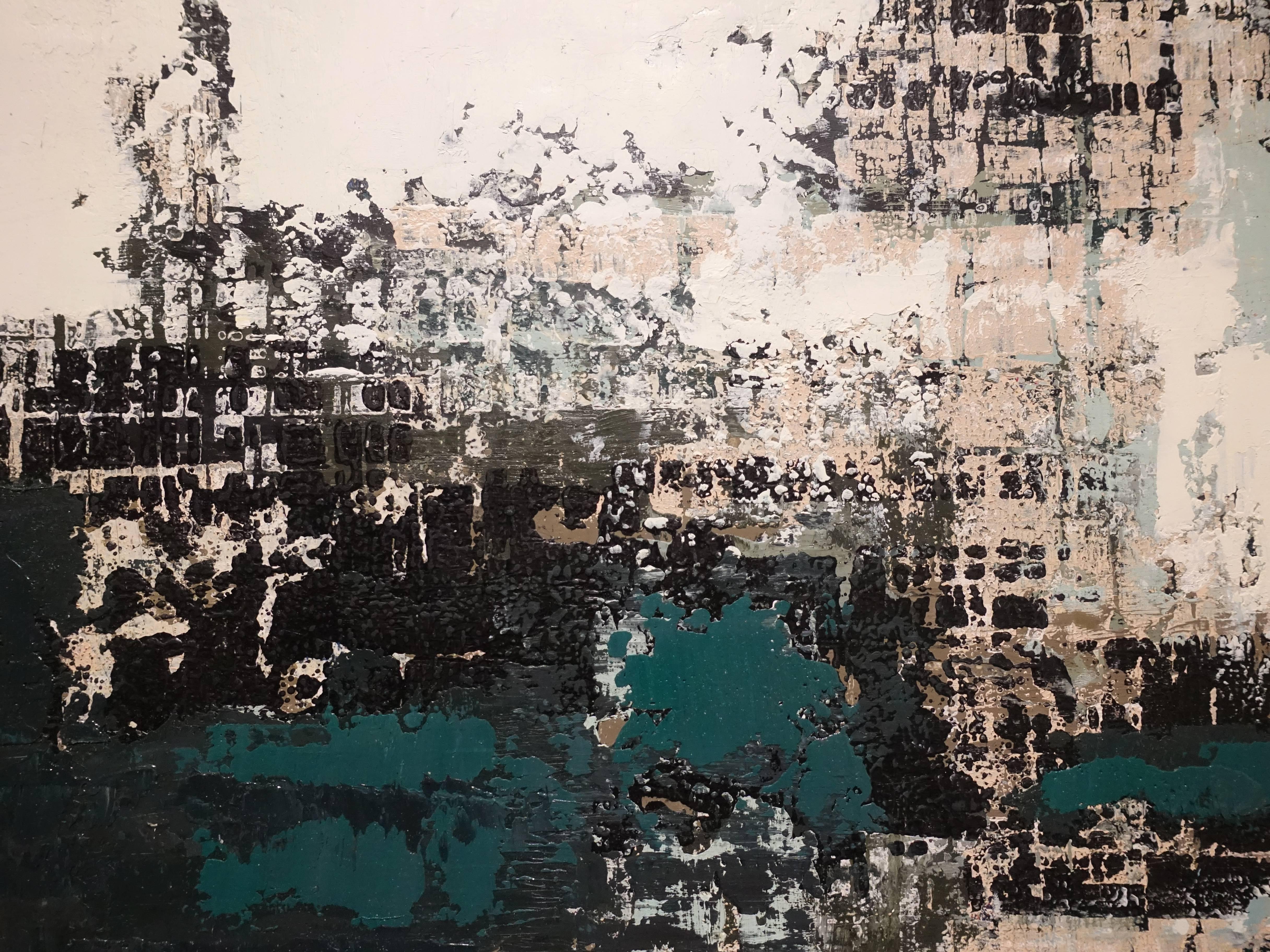 徐明豐,《移動的風景》細節,39 x 51 cm,複合媒材紙本,2018。