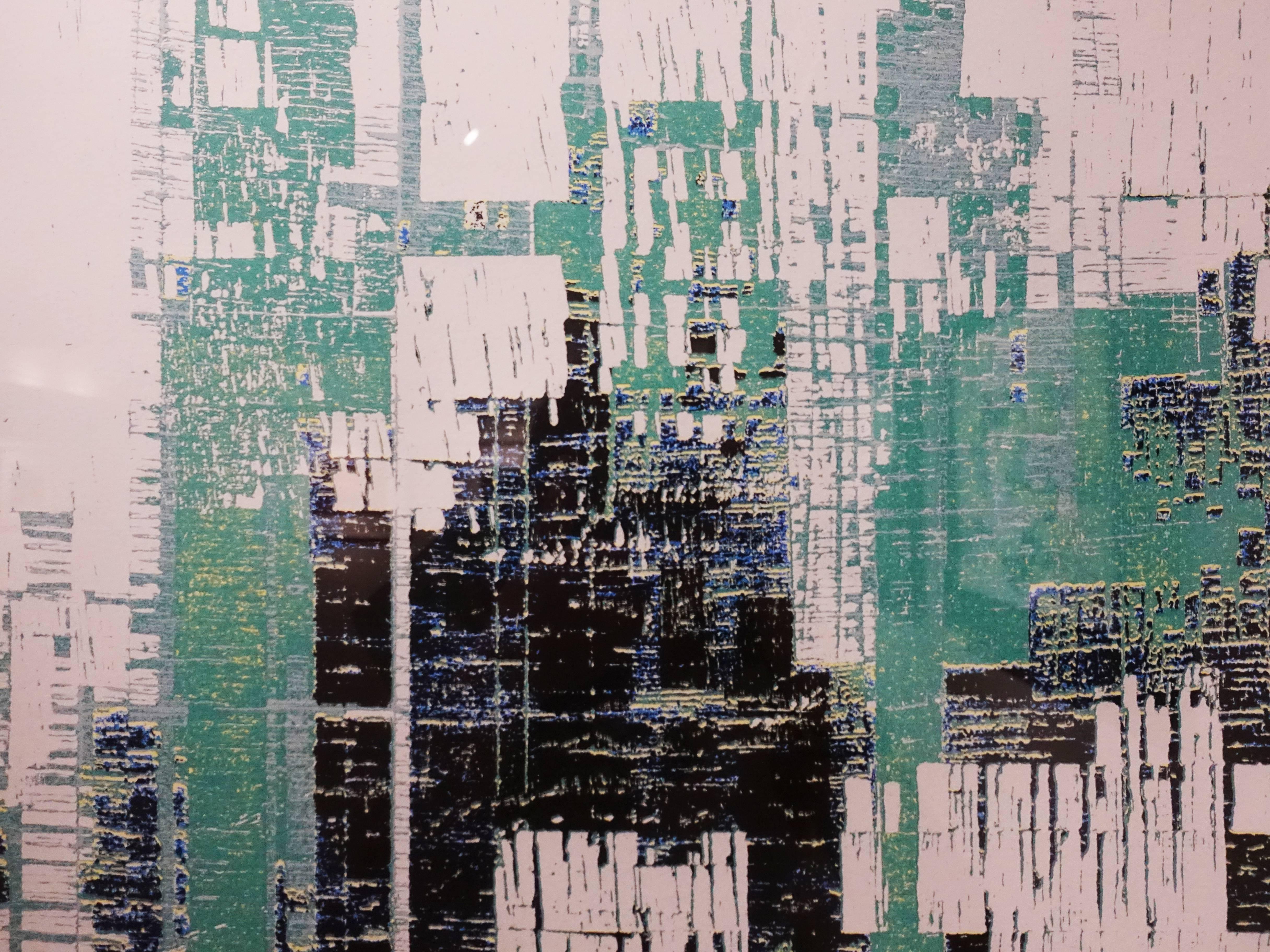 徐明豐,《景觀 空間之十五》細節,50 x 50 cm,29/30,絹印版畫,2018。