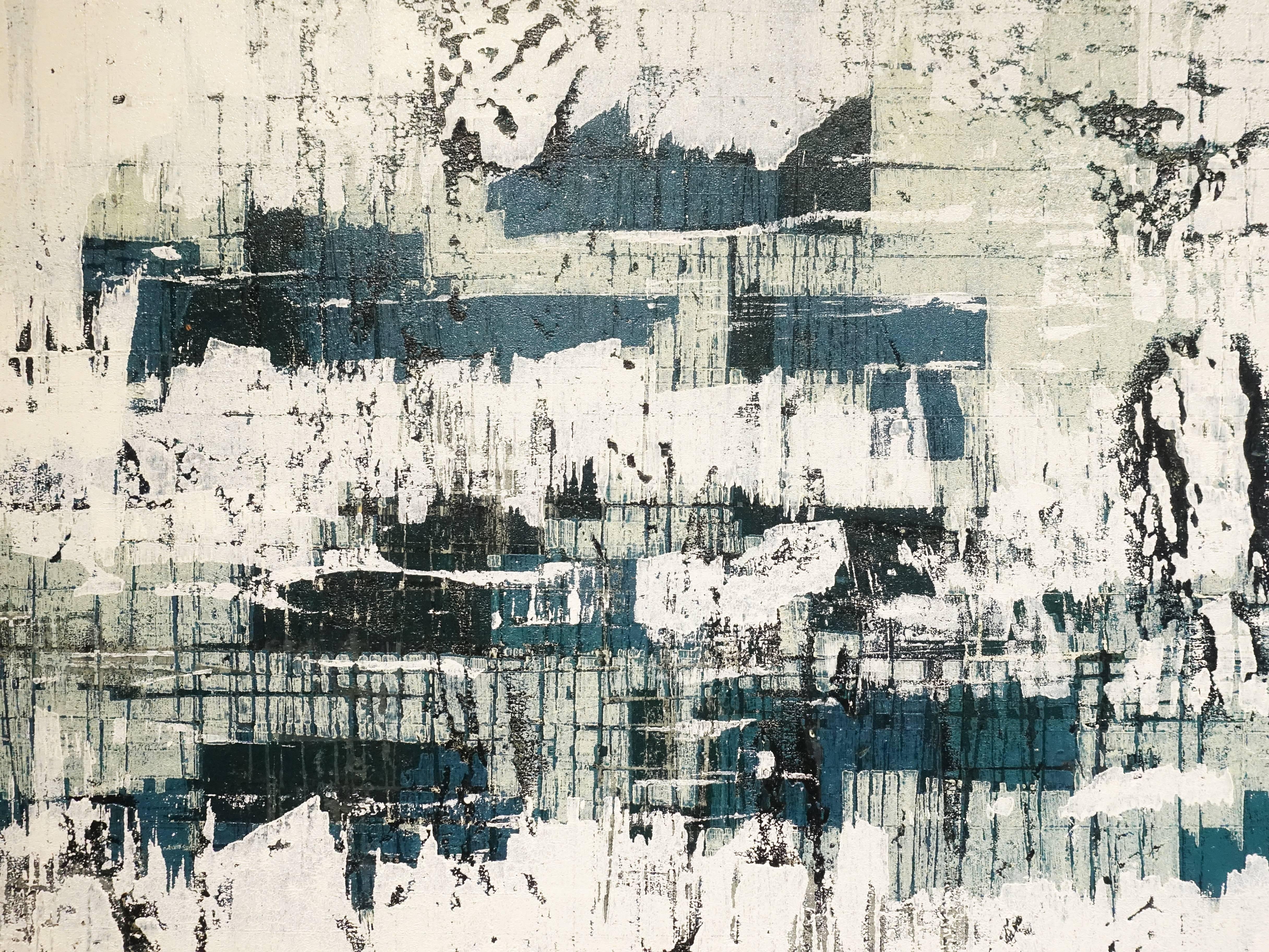 徐明豐,《記憶‧城市之一》細節,93.5 x 122 cm,複合媒材-畫布,2017。