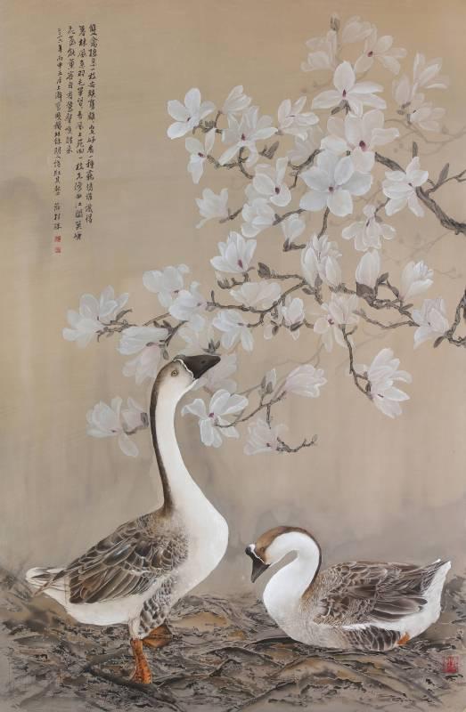 莊桂珠 《辛夷與鵝(雙喜)》 工筆絹本  160×104公分