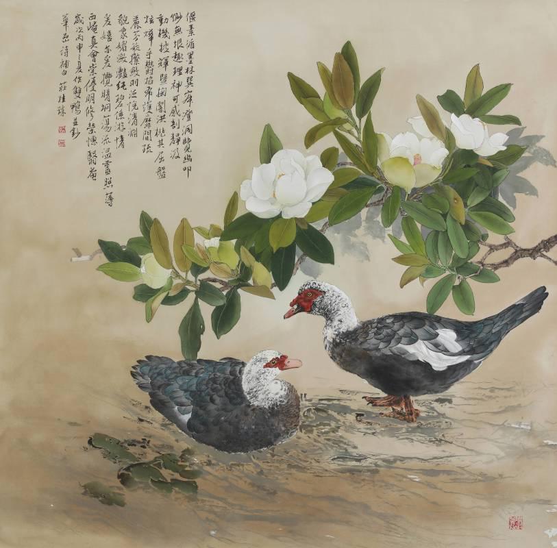 莊桂珠 《雙禽》 工筆絹本  110×100公分