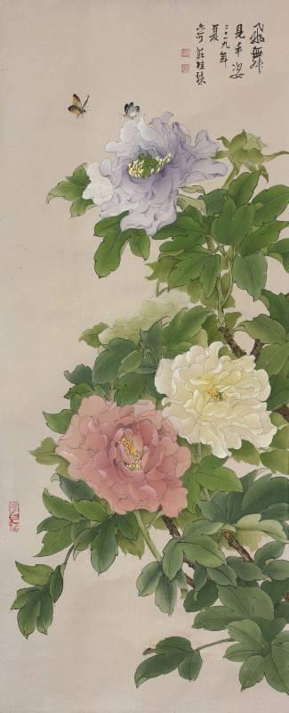 莊桂珠 《牡丹花》 工筆絹本  110×37公分