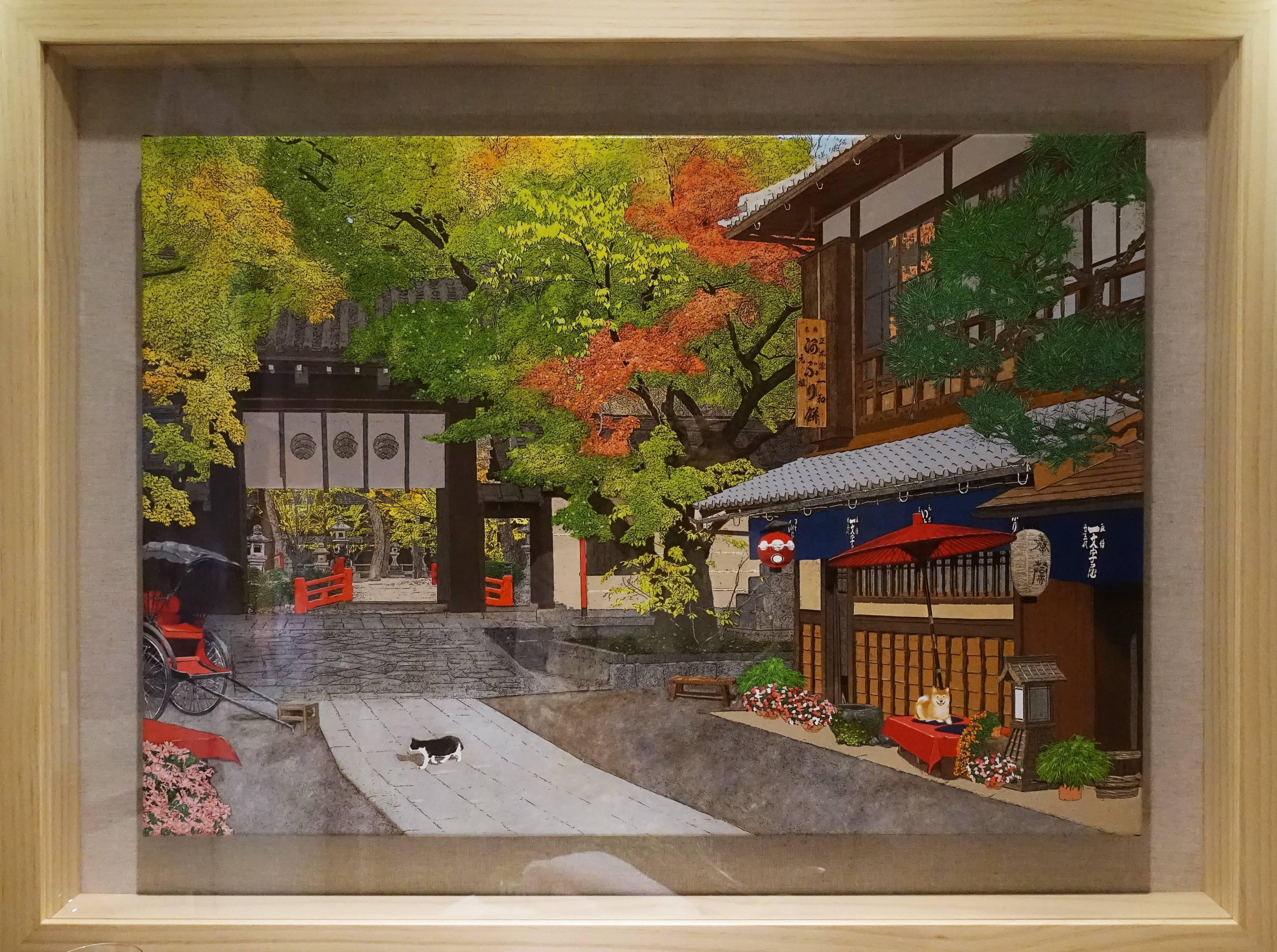 新藝藝術中心藝術家 - 林宗範《金楓紅葉映秋日》,65 x48 cm ,壓克力顏料、畫布,2019。