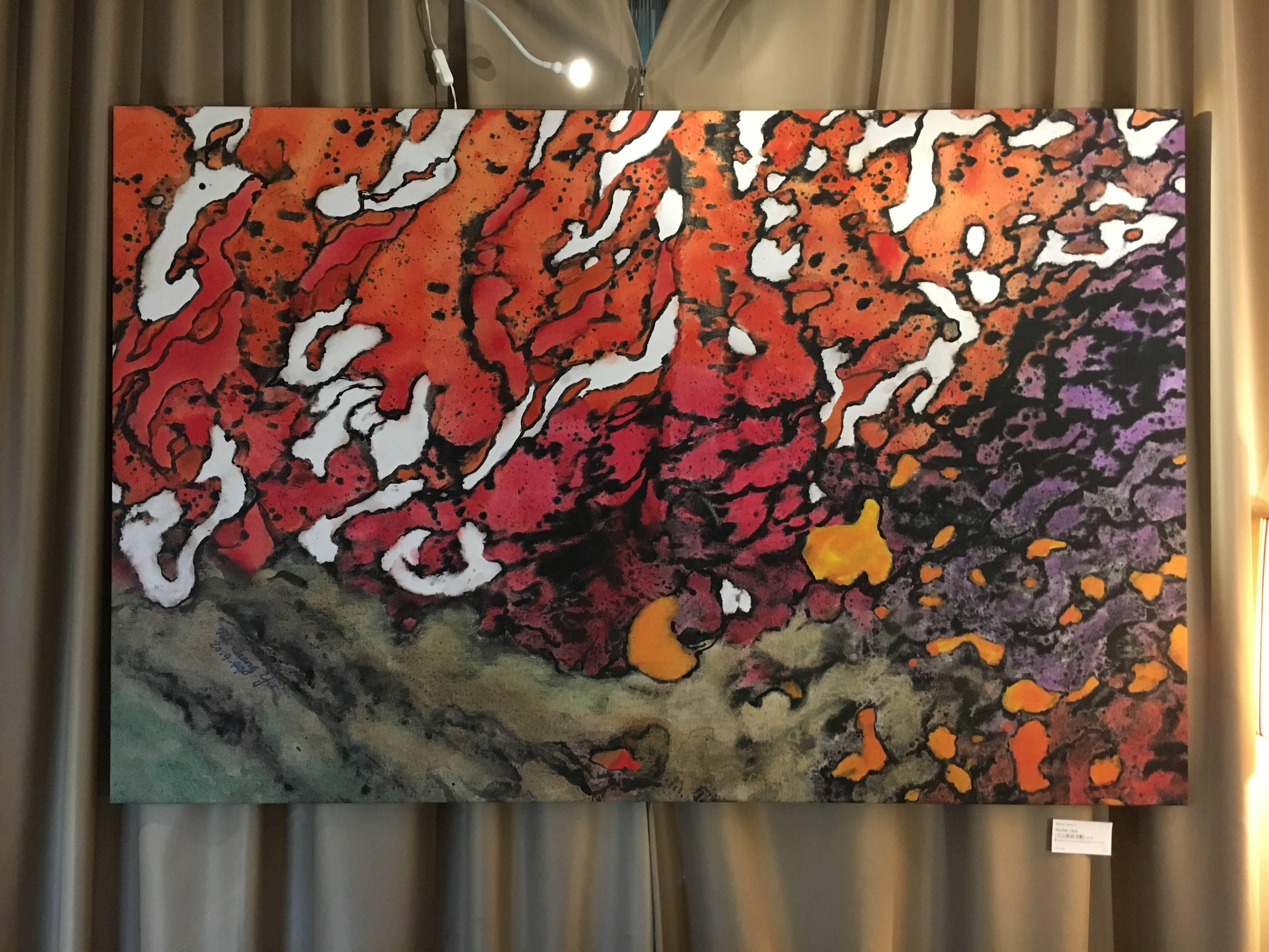米崴藝術展出藝術家 -  Marlene Tseng Yu《Molten lava火山熔岩流動》,117 x 175 cm,Acrylics on canvas,2019。