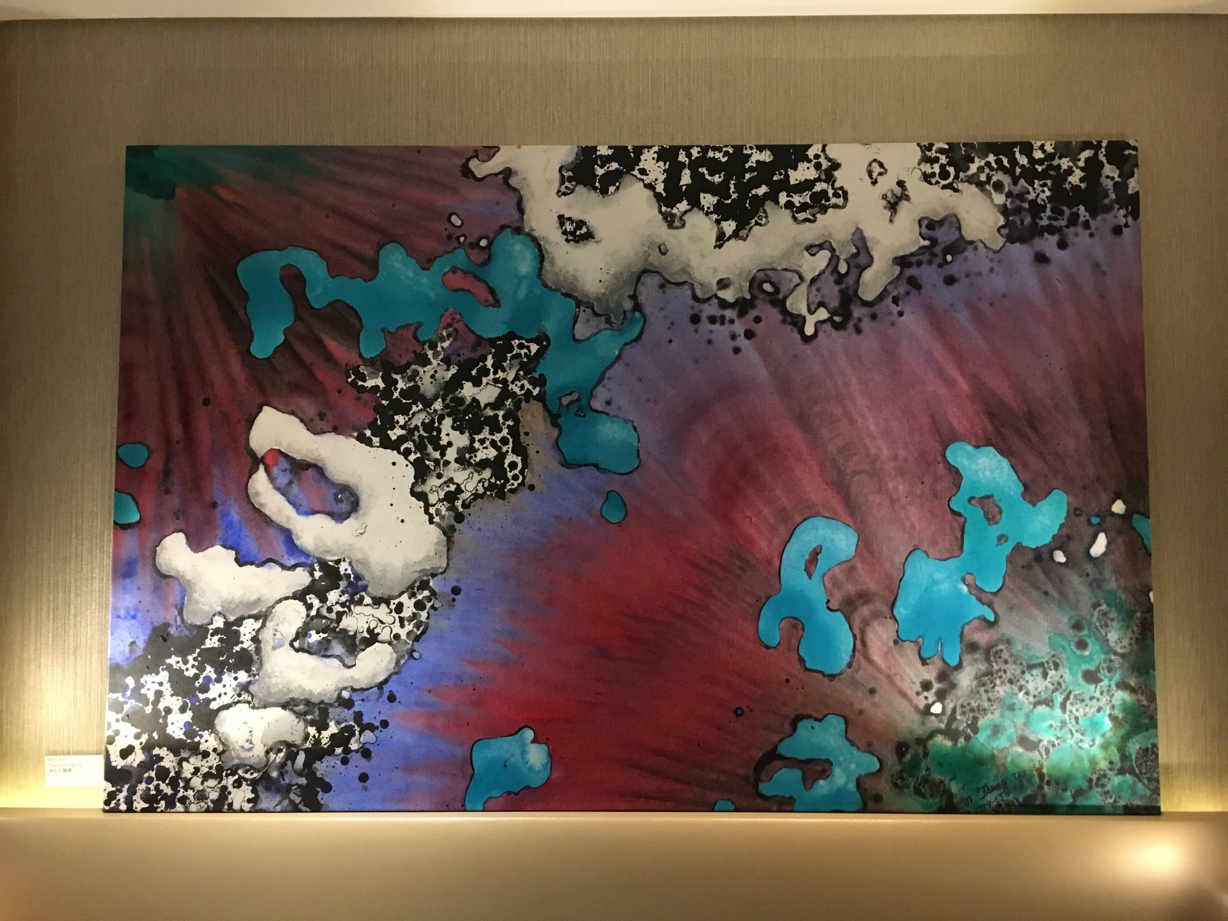 米崴藝術展出藝術家 -  Marlene Tseng Yu《Iceberg/aurora australis 冰山與北極綠光》,117 x 175 cm,Acrylics on canvas,2019。