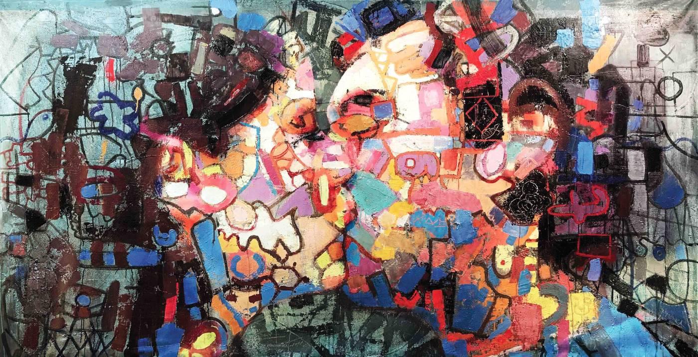 法比奧・莫迪卡 Fabio Modiac, 愉悅|吻 Paidia _ The kiss, 2017, 複合媒材於畫布上 Mixedmedia on canvas, 200.0 × 160.0cm。圖/白石畫廊提供