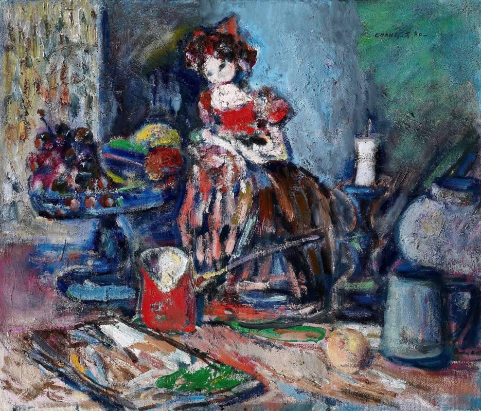 張萬傳|桌上靜物(靜物娃娃)|1980|油彩|45.5x53cm