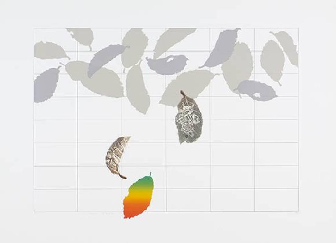 廖修平,四季美味,絲網版、紙凹版,41×59 cm,1981
