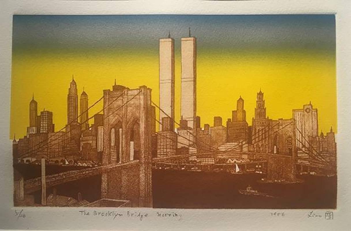 廖修平,布魯克林大橋的清晨,蝕刻金屬版,15.3×25.6cm,1986