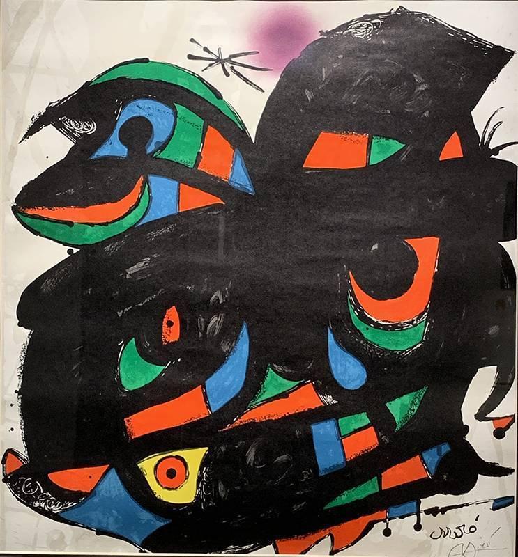 米羅,Fundacio,限量石版海報,70X50cm,1976。