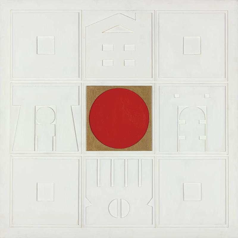 廖修平 晝 1973 壓克力、木板浮雕 122×122cm