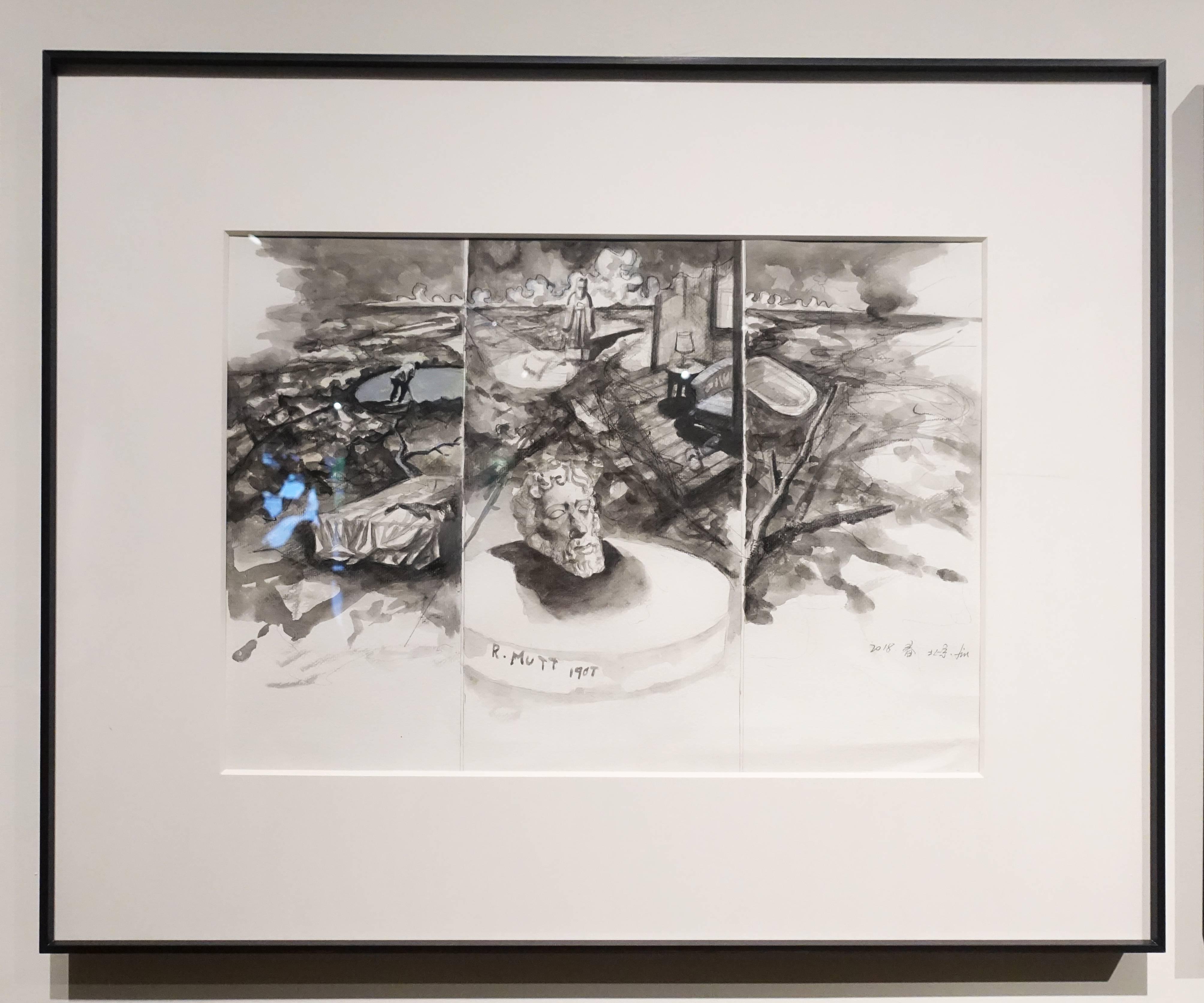 劉芯濤,《無關的風景》,39 x 54 cm,紙本作品,2018。