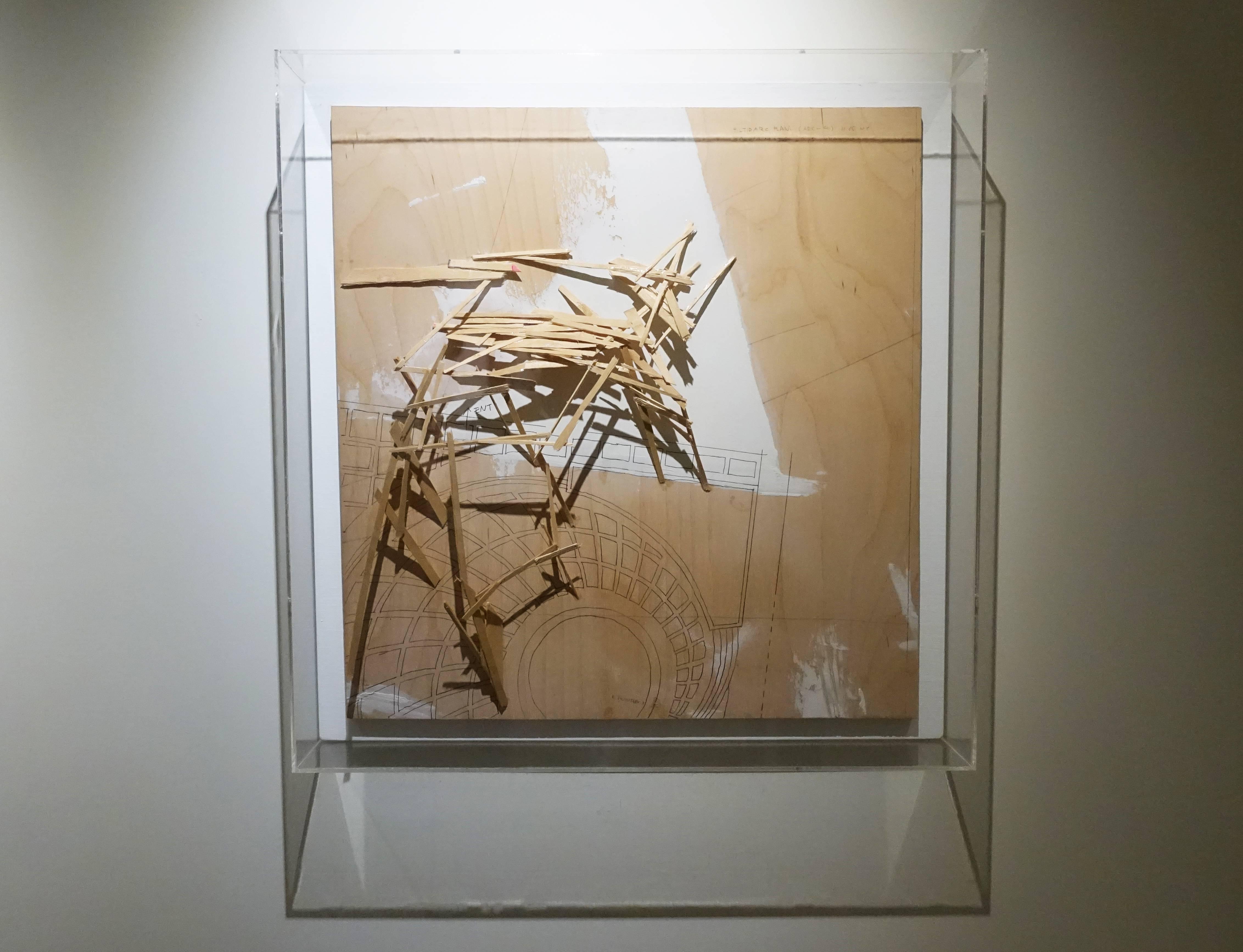 川俣正,《TILTED ARC PLAN(ARC-4)》,58.5 x 58.5 cm,木に彩色,1985。