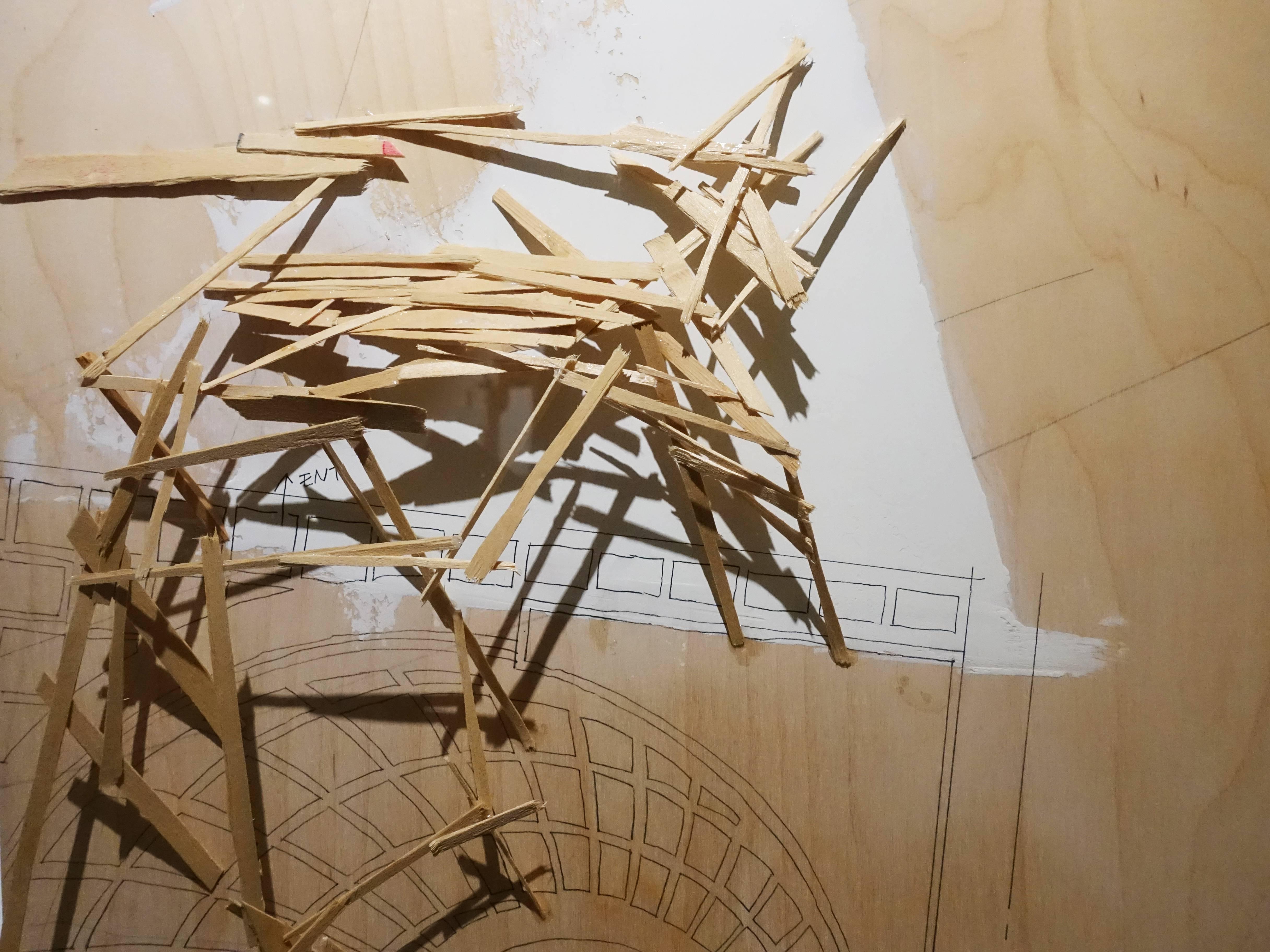 川俣正,《TILTED ARC PLAN(ARC-4)》細節,58.5 x 58.5 cm,木に彩色,1985。