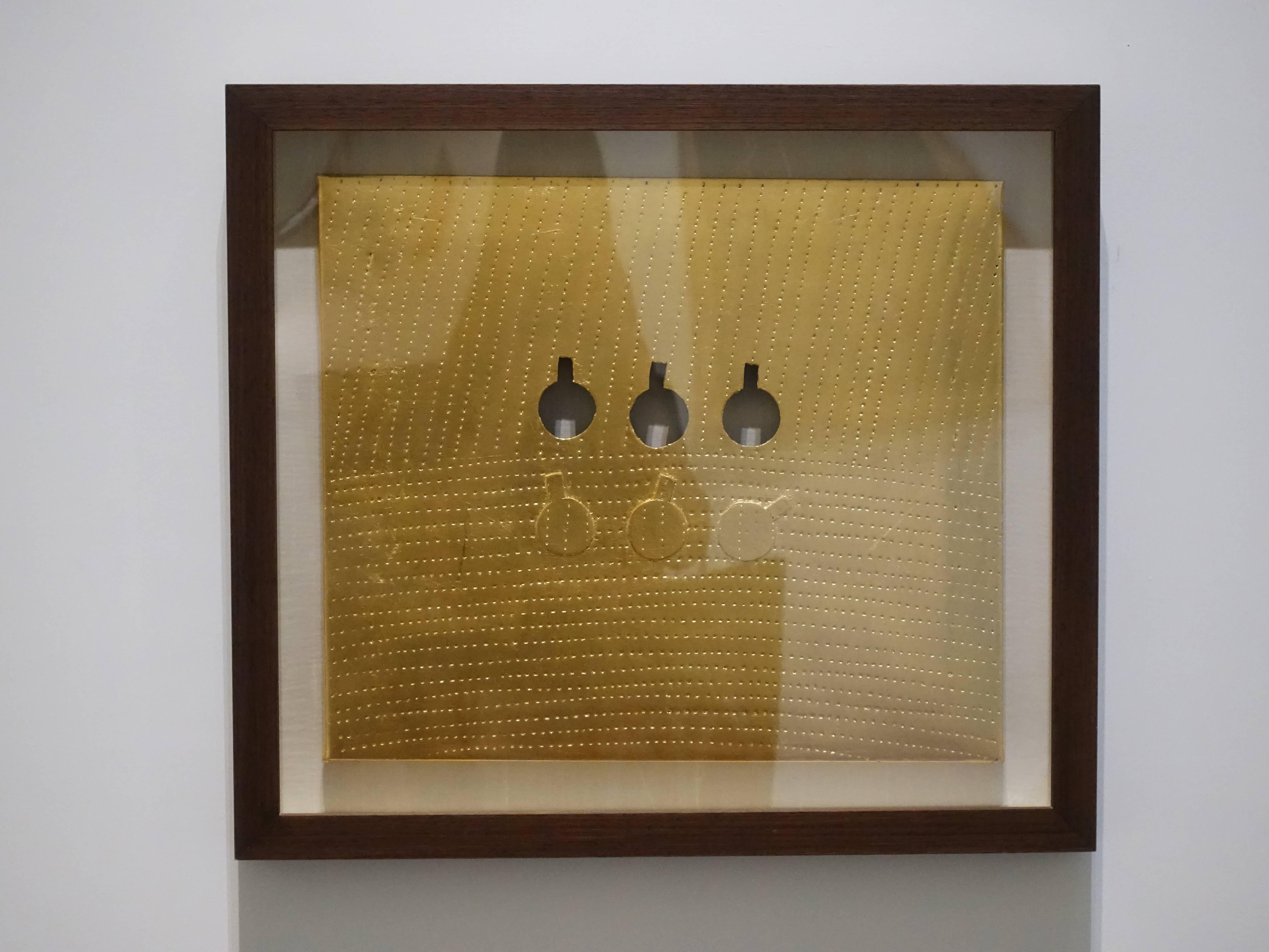 関根伸夫,《Phase conception No.G10-266》,45 x 53 cm,金箔Mixed media and gold leaf on paper、paper,2009。