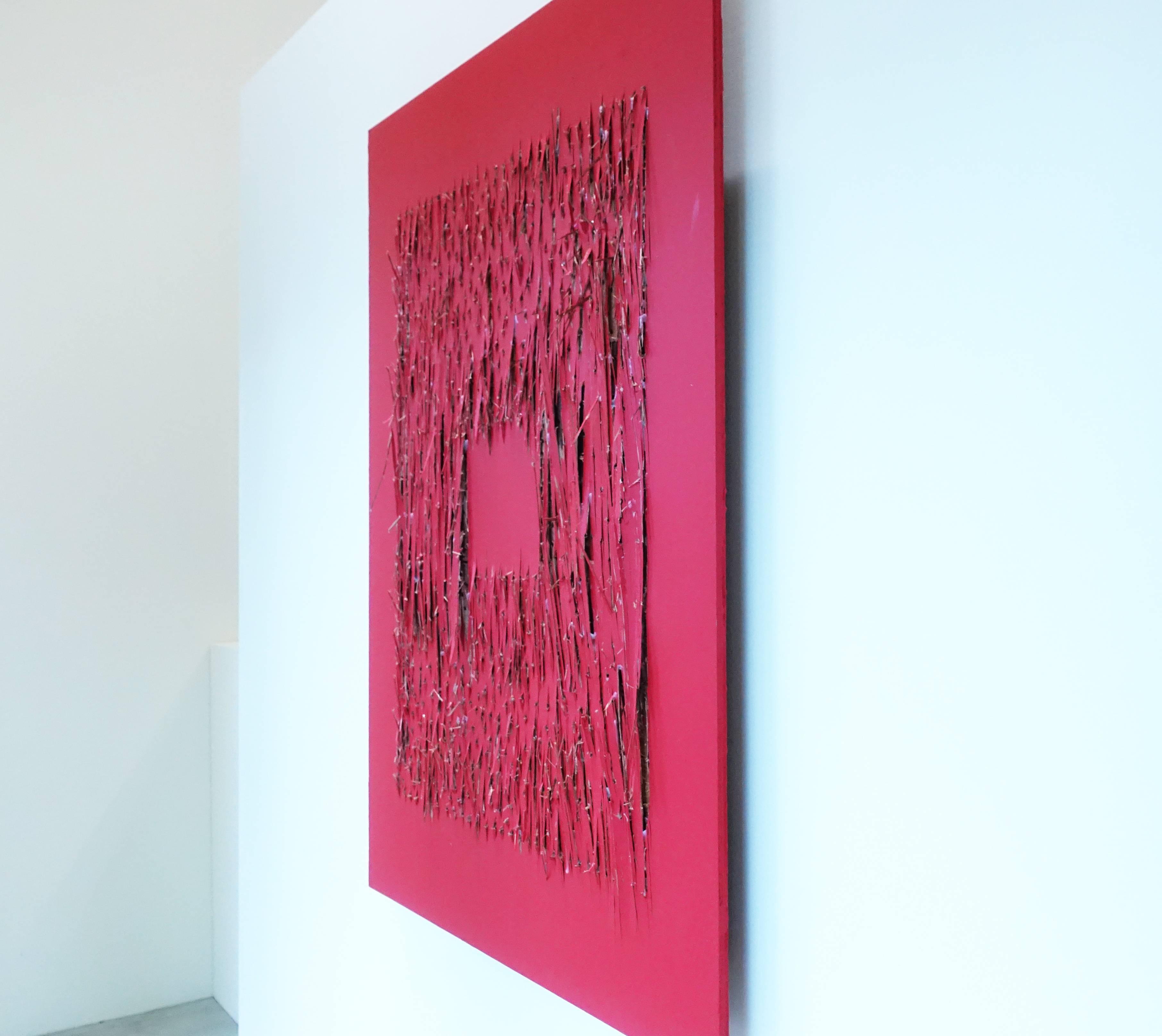 菅木志雄,《物態化(6)Emerging process》,120 x 90 x 7.5 cm,Wood acrylic,2011。
