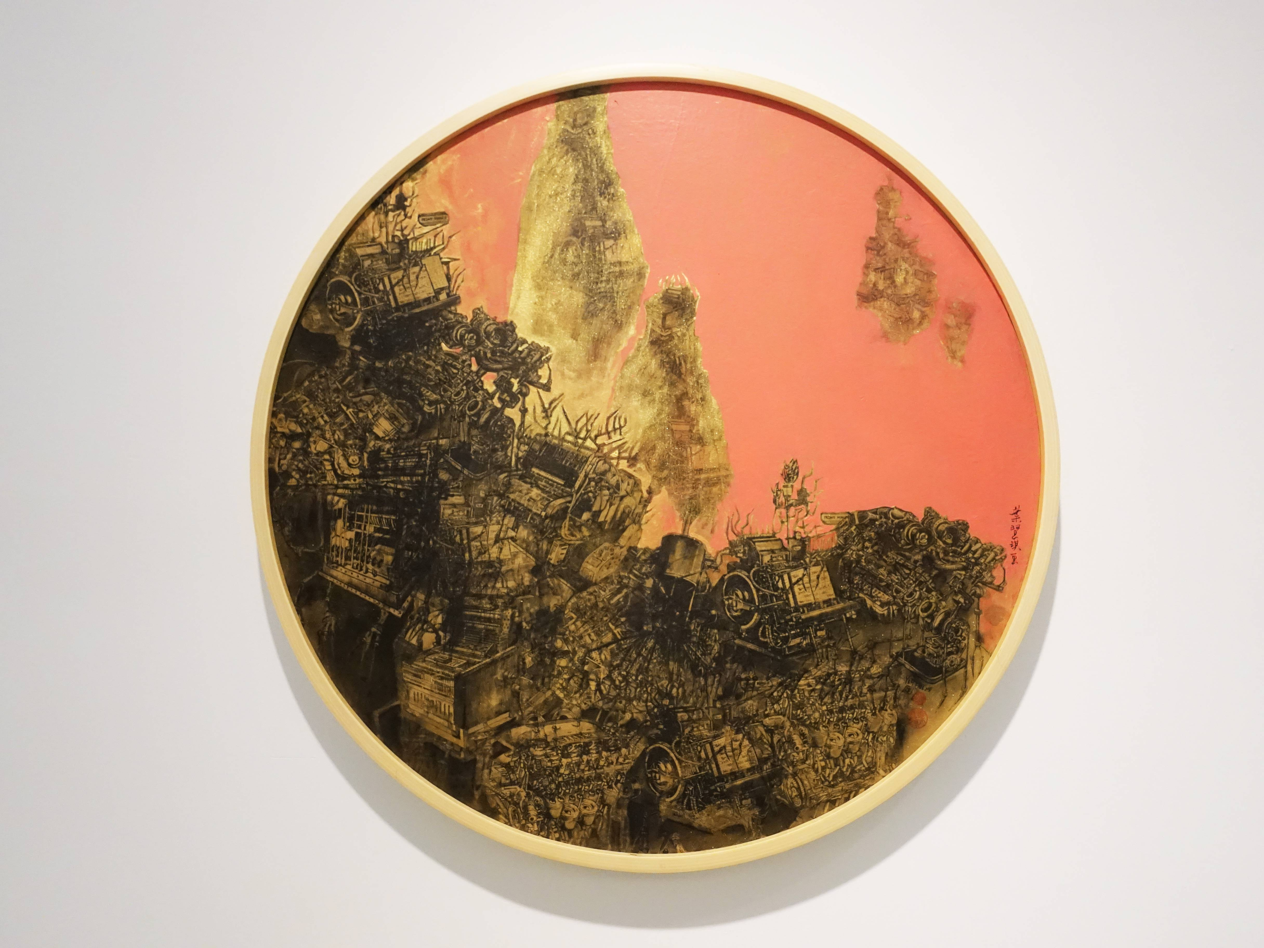 葉慧琪,《邊境》,60 x 60cm,綜合媒材、絹布。