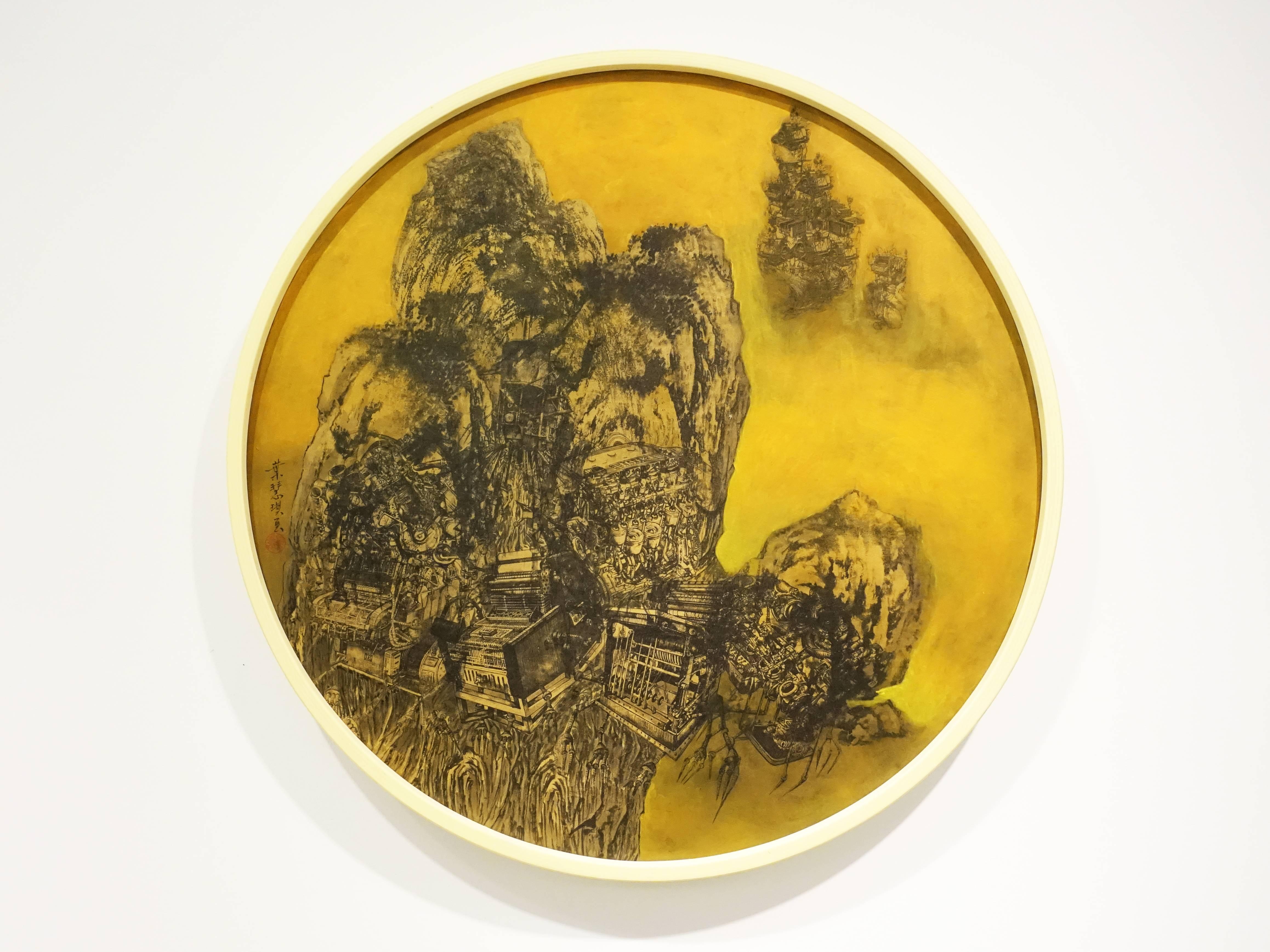 葉慧琪,《靈暈》,60 x 60cm,綜合媒材、絹布。