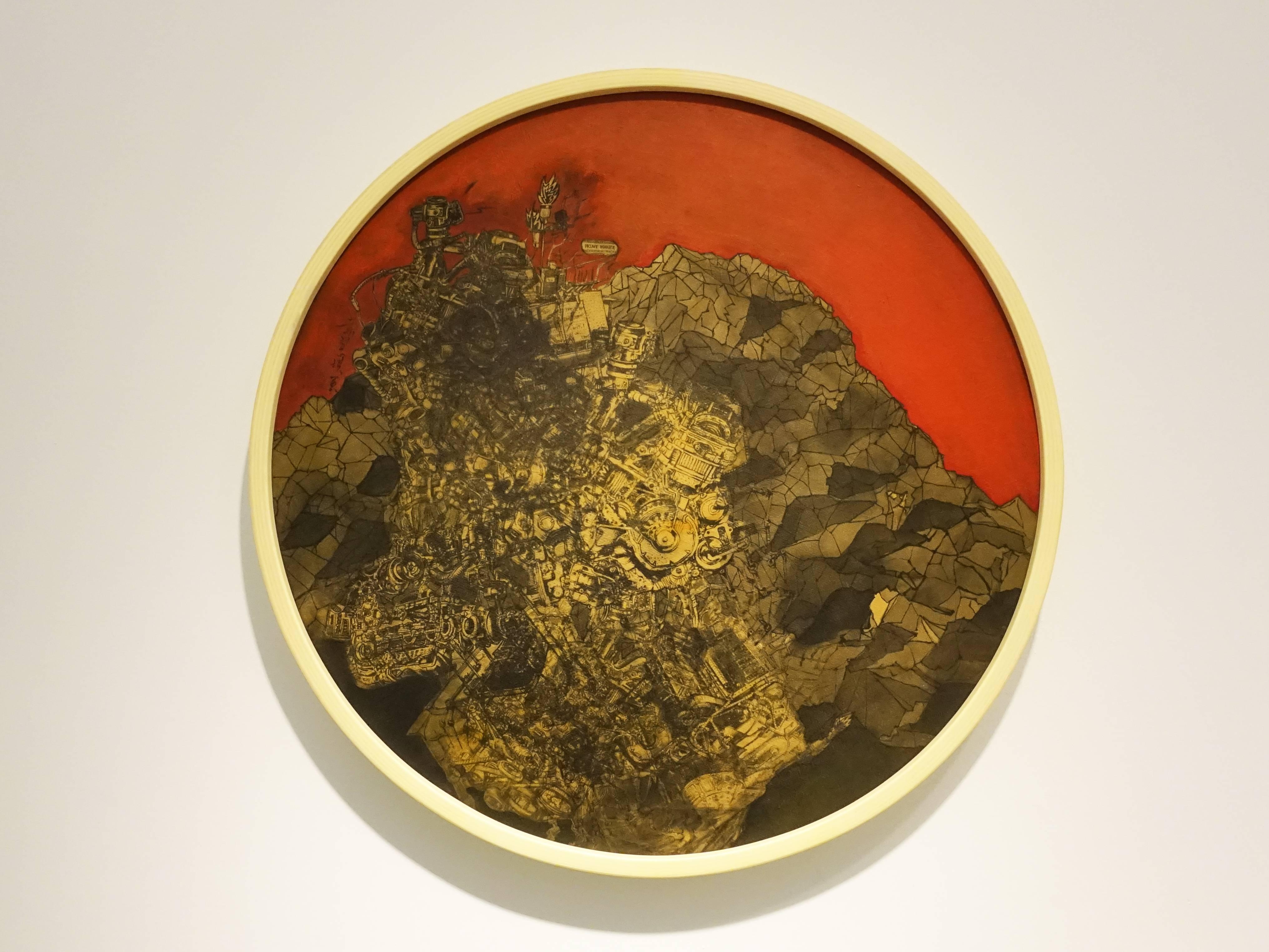 葉慧琪,《崩巖》,50 x 50 cm,綜合媒材、絹布。