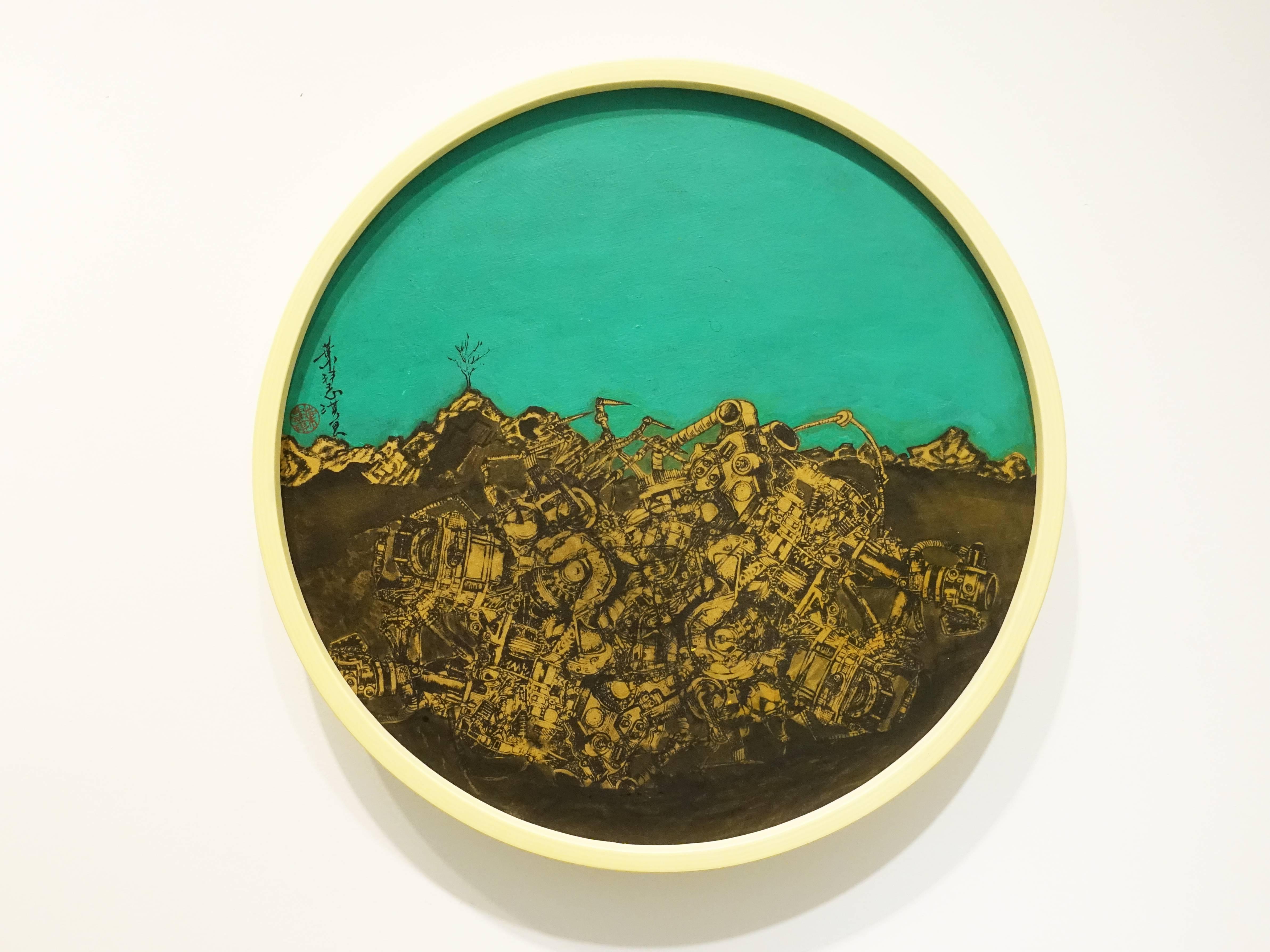 葉慧琪,《隱匿》,40 x 40 cm,綜合媒材、絹布。