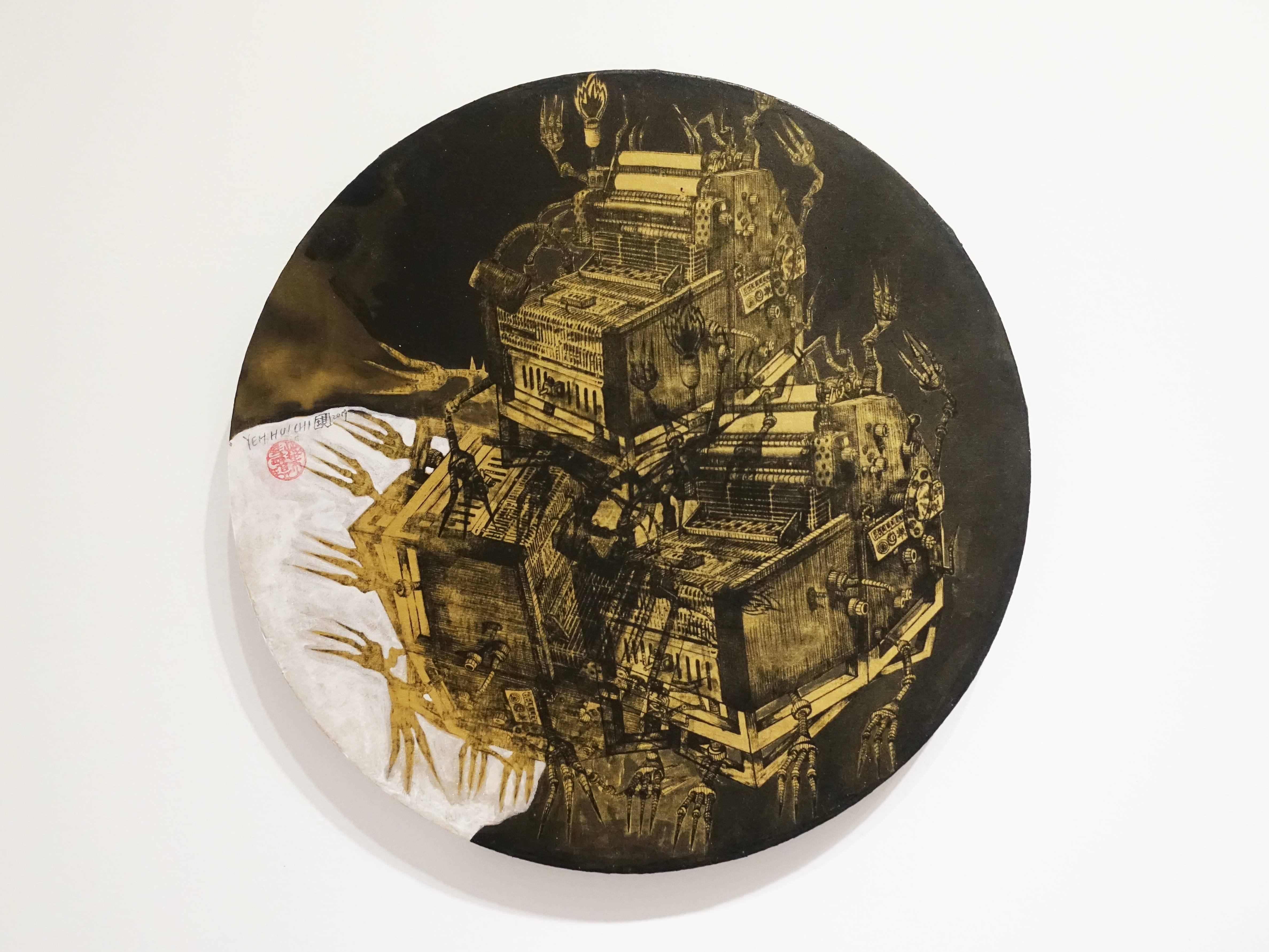 葉慧琪,《機械群44》,30 x 30 cm,綜合媒材、絹布。
