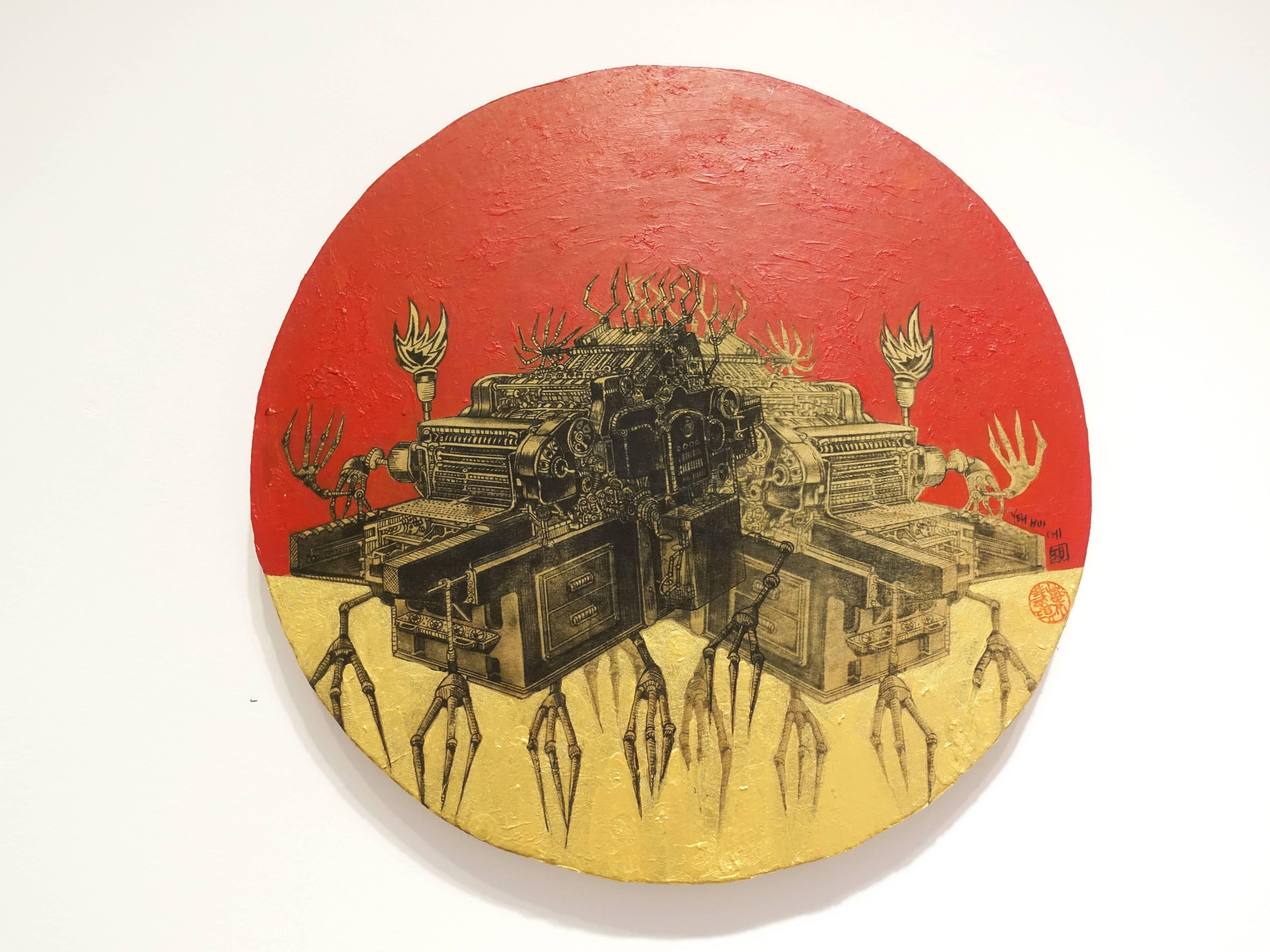 葉慧琪,《機械群43》,30 x 30 cm,綜合媒材、絹布。