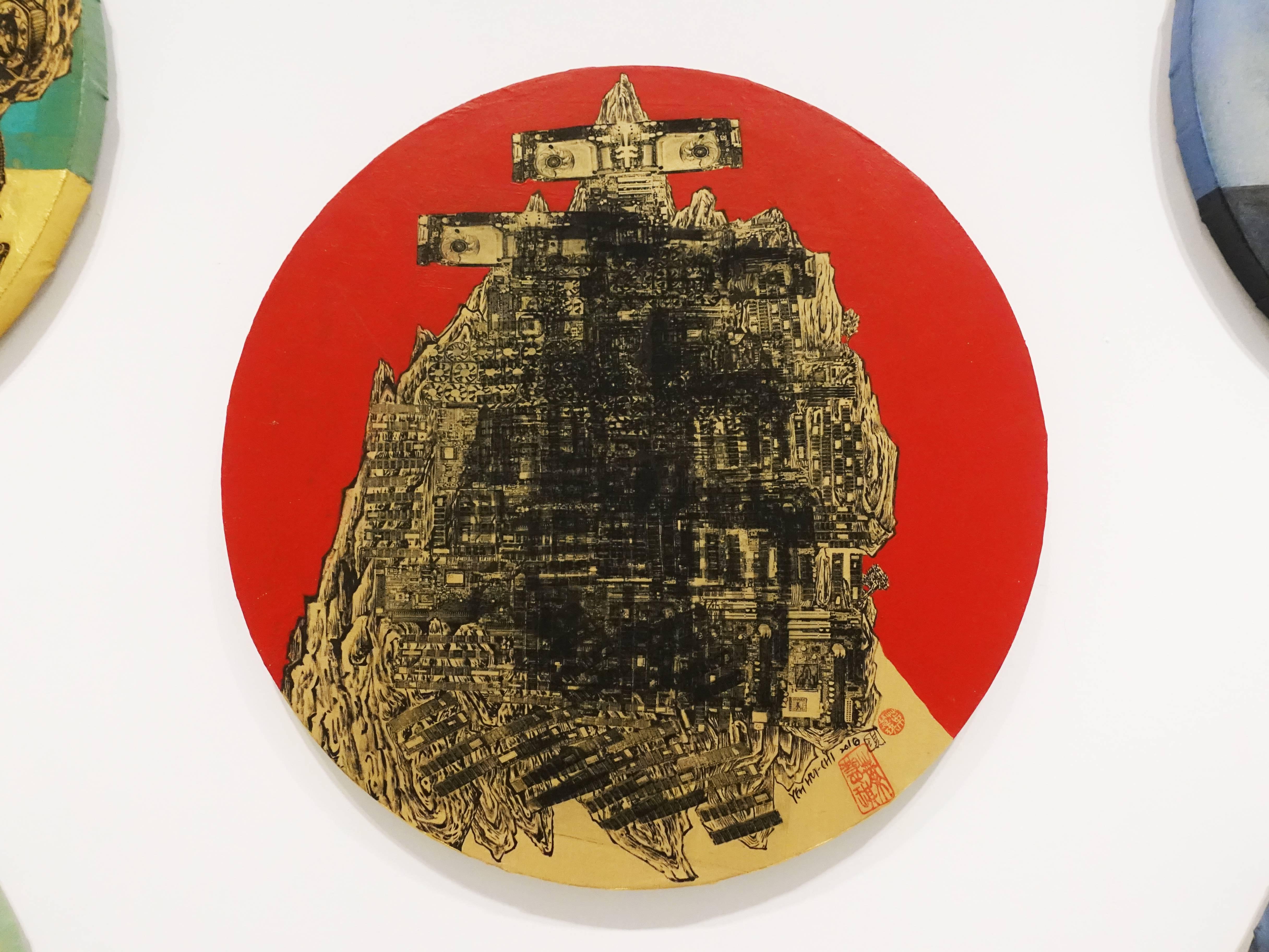 葉慧琪,《機械群1》,36 x 36 cm,綜合媒材、絹布。