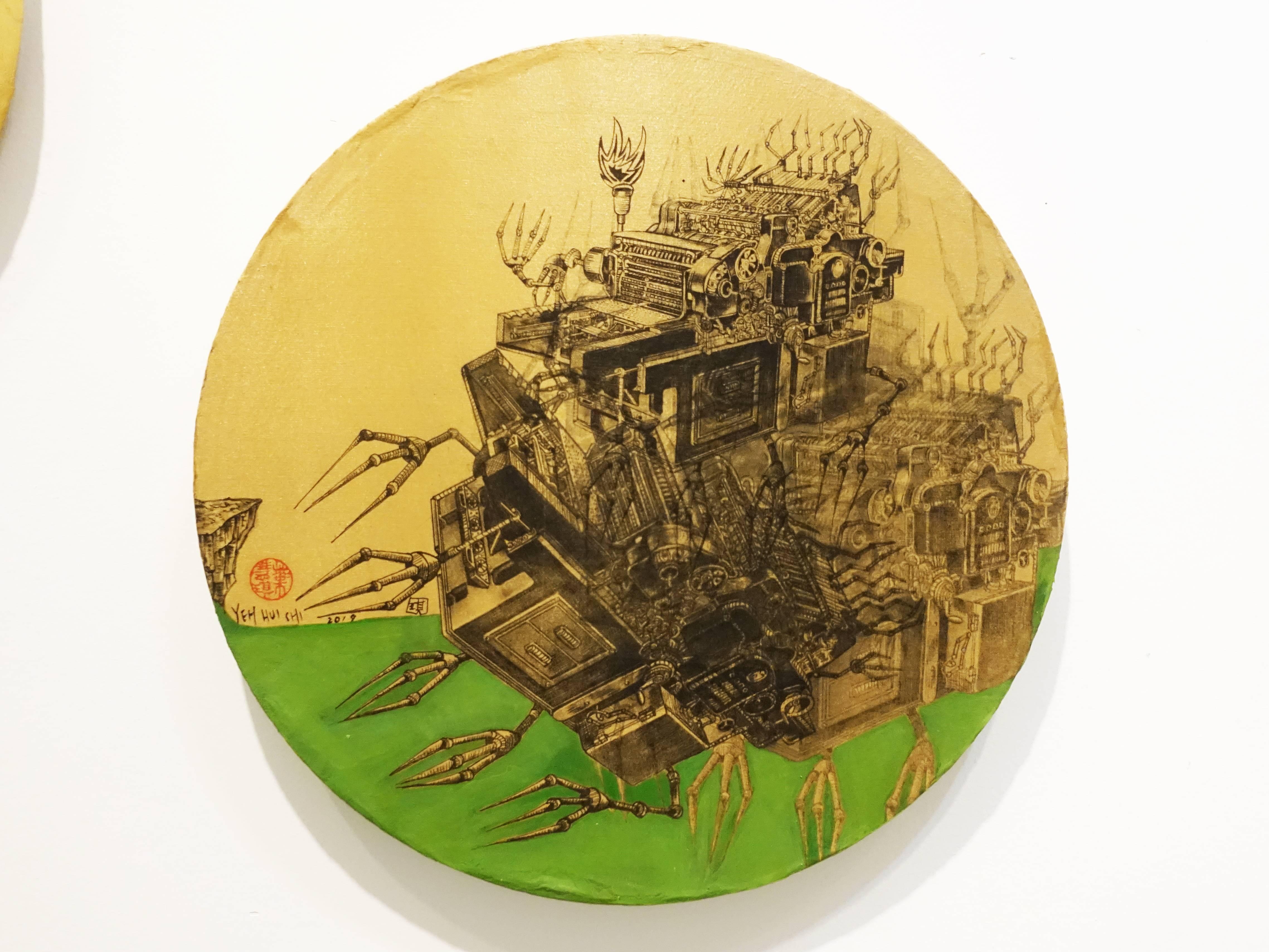 葉慧琪,《機械群37》,30 x 30 cm,綜合媒材、絹布。