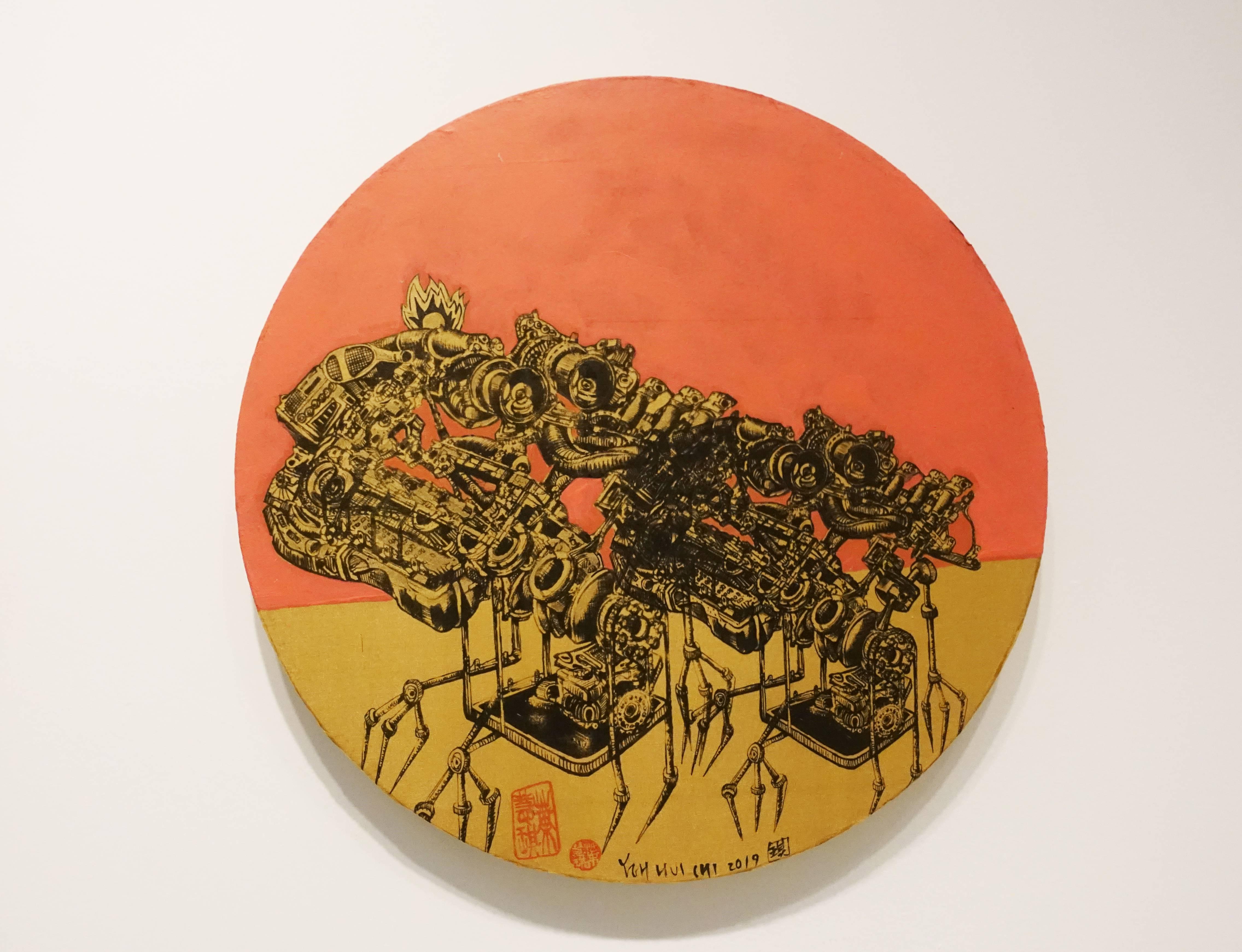 葉慧琪,《機械群31》,30 x 30 cm,綜合媒材、絹布。