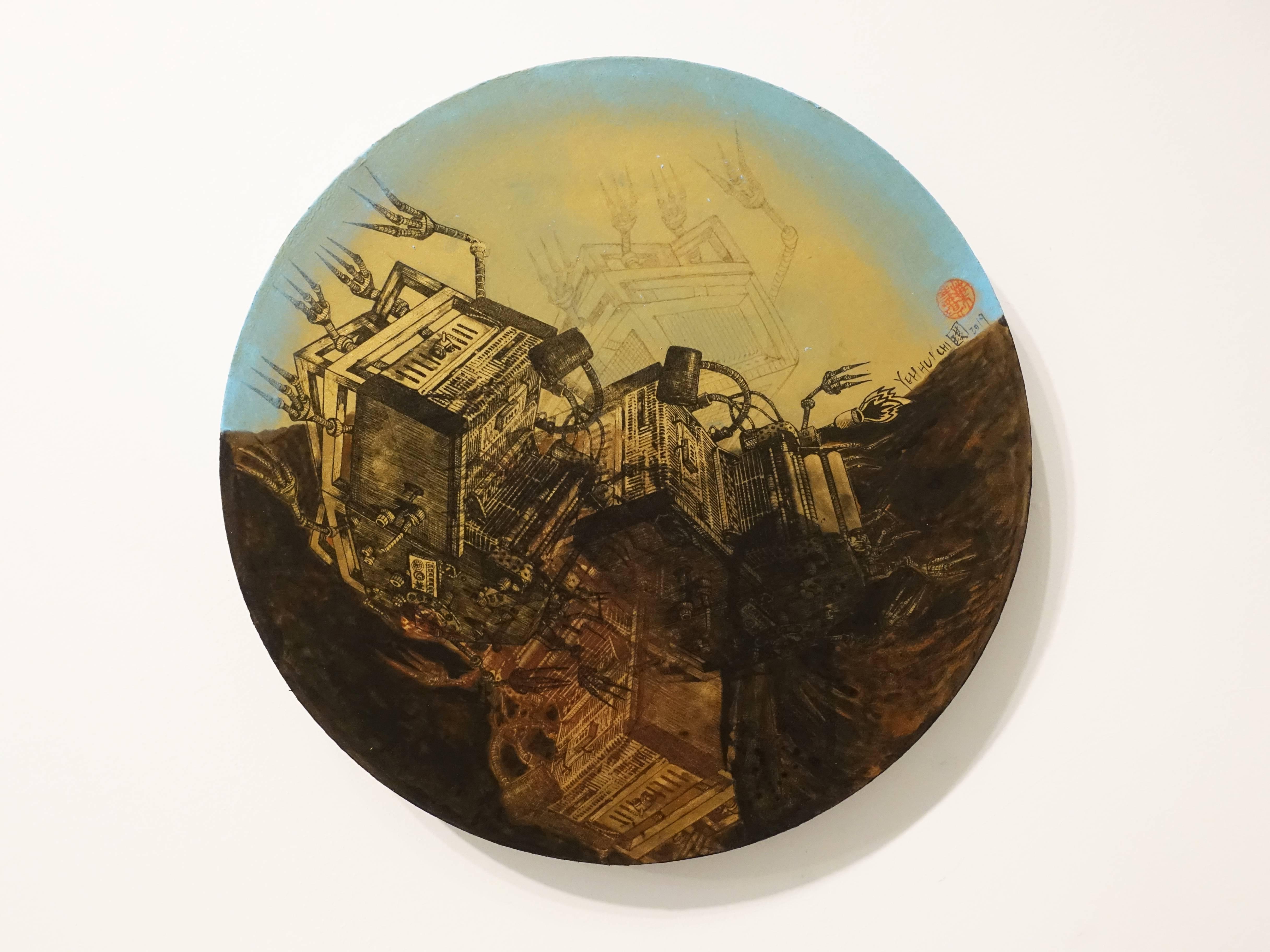 葉慧琪,《機械群27》,30 x 30 cm,綜合媒材、絹布。