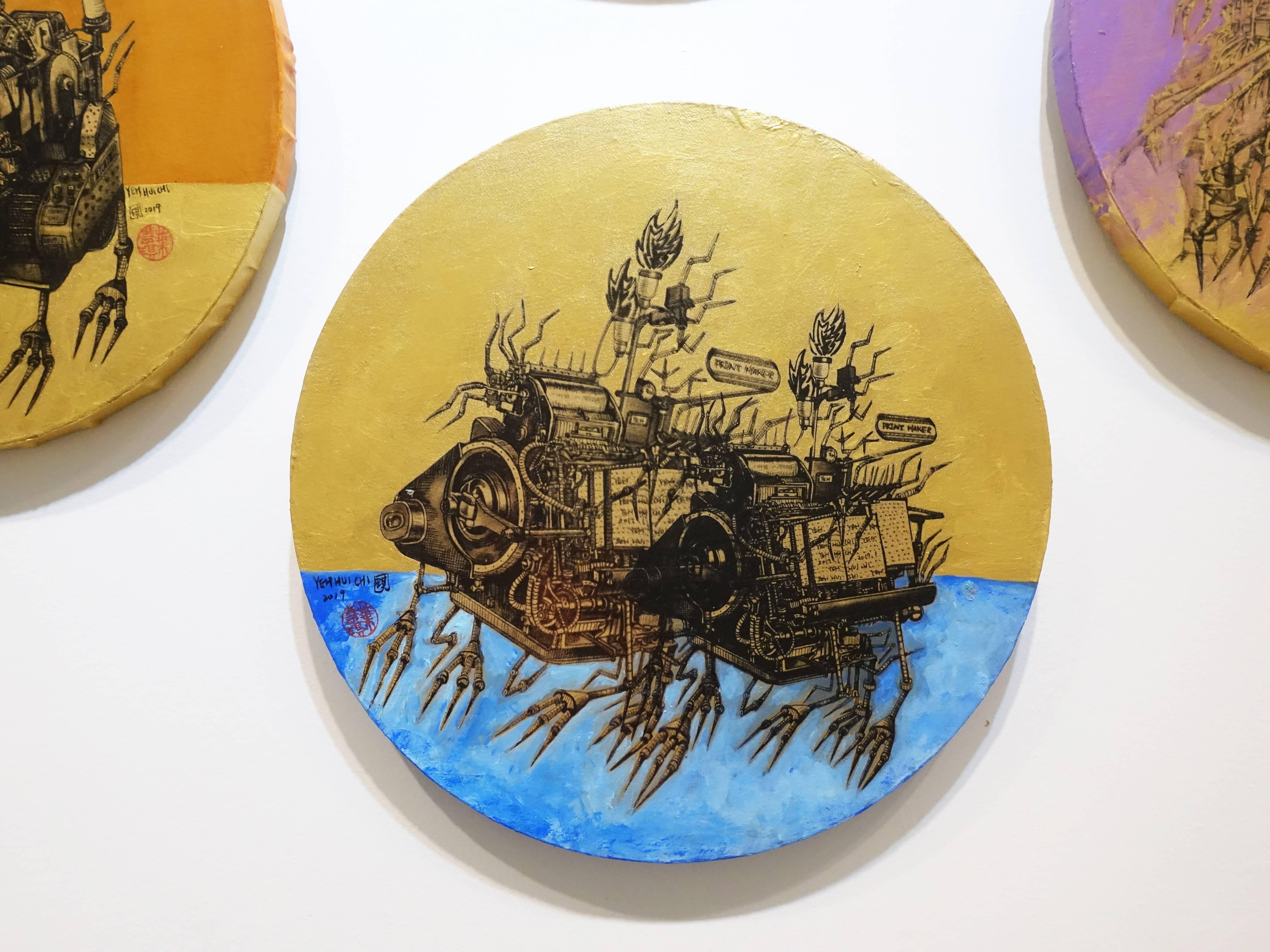 葉慧琪,《機械群33》,30 x 30 cm,綜合媒材、絹布。