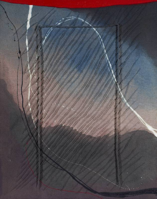 前川強 Tsuoyoshi Maekawa_無題 Untitled_1993_粗麻布與油彩於畫布上 Burlap and oil on canvas_91 x 72.5 cm