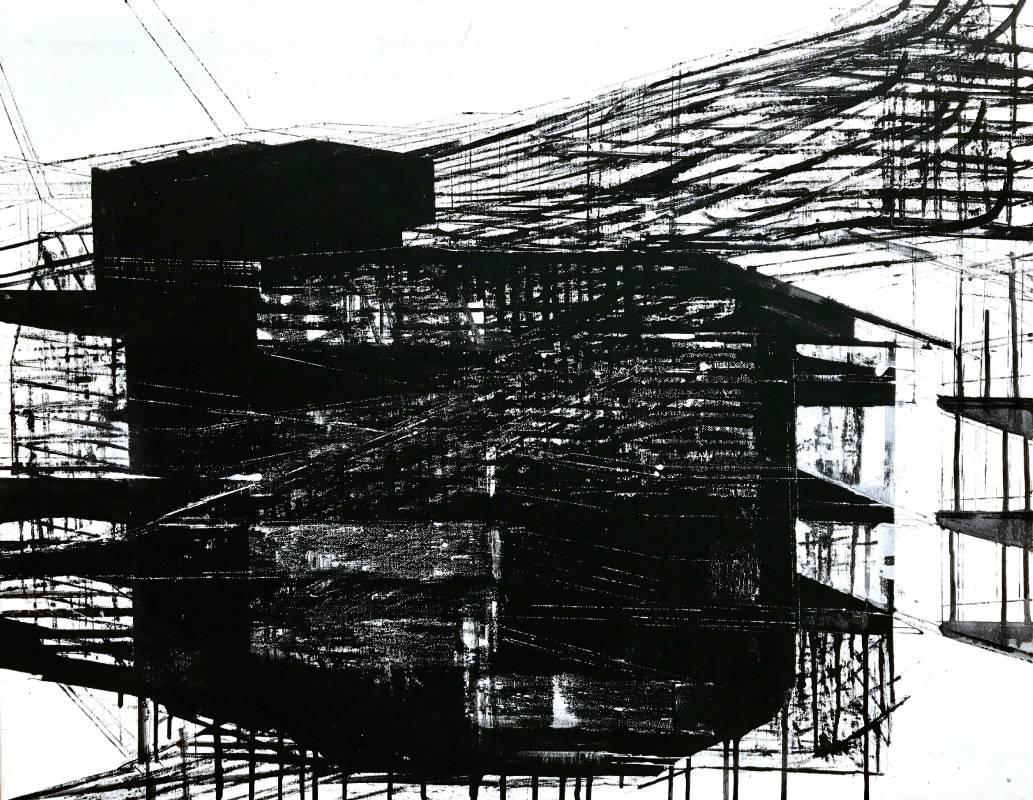 趙璐嘉_Linear series線性系列-7複合媒材於畫布(壓克力顏料、打底劑、墨汁、炭筆)76x60 cm_2019
