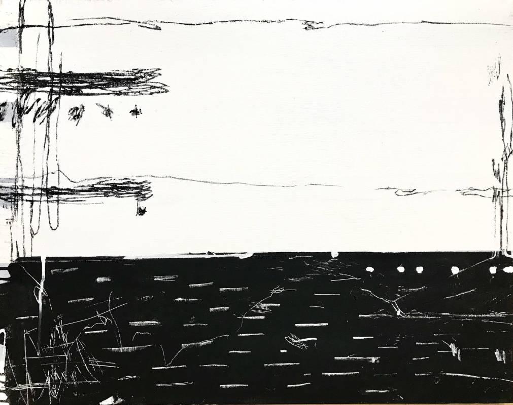 趙璐嘉_Scenery series 2019-1010_複合媒材於畫布(壓克力打底劑,壓克力顏料,墨汁,水性漆,鉛筆)76x60 cm_2019