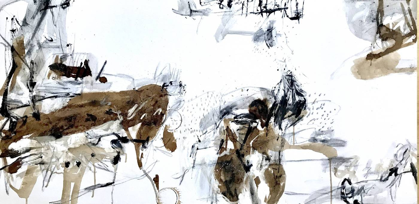 趙璐嘉_Scenery series 2019-1835-複合媒材於畫布(壓克力打底劑,壓克力顏料,墨汁,水性漆,鉛筆)127x63 cm_2019
