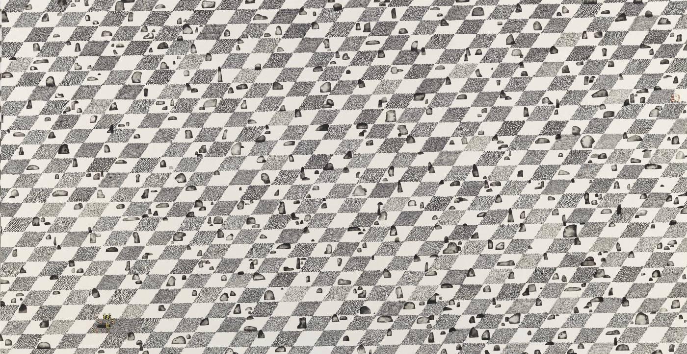 標題: 長島的棋盤廣場尺寸:50.1*96.6 cm 年代:2019    材質:紙本水墨設色