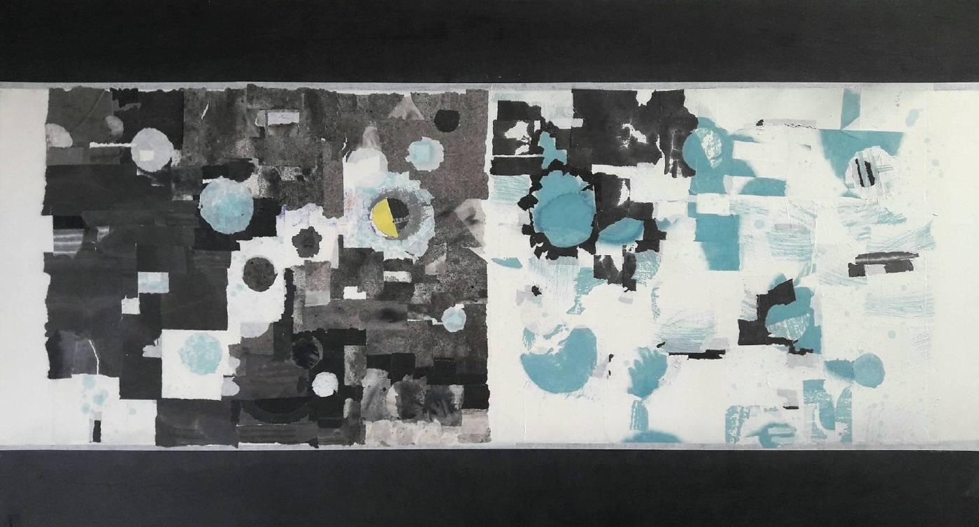 日夜時空 2019-2  水墨複合媒材  41x110cm
