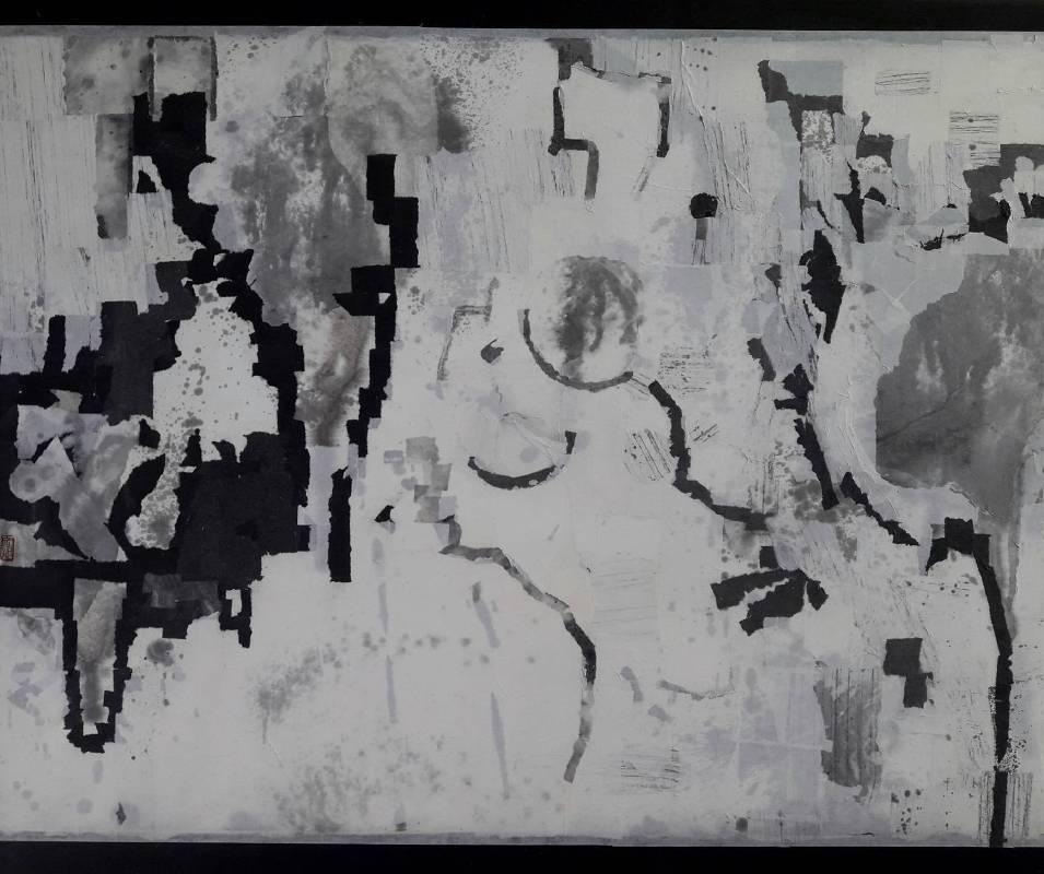 日夜時空 2019-3(左)  水墨複合媒材  60x145cm