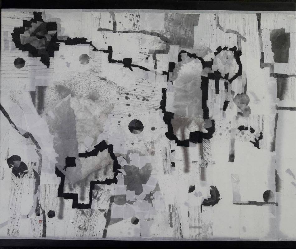 日夜時空 2019-3(右)  水墨複合媒材  60x145cm